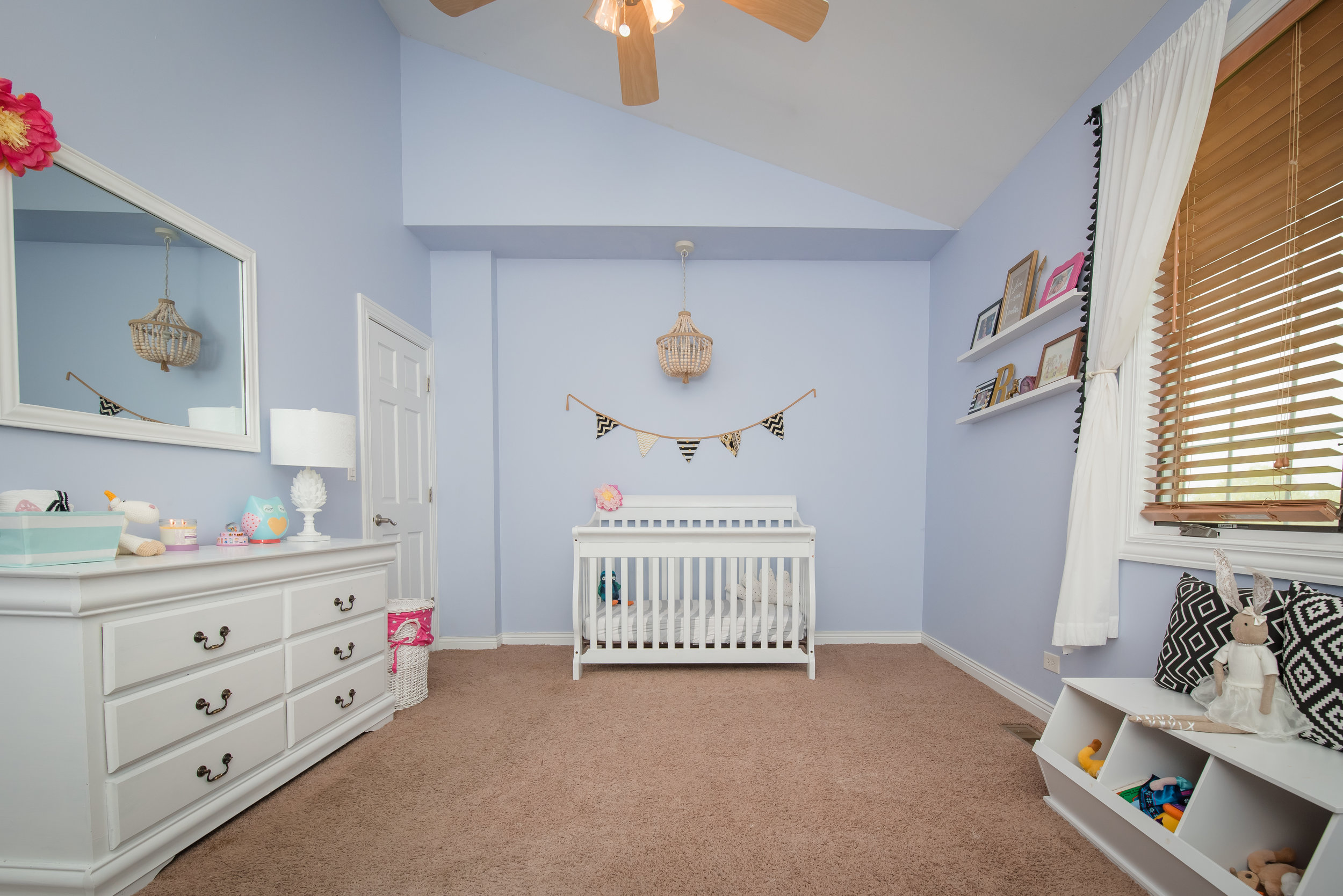 Kids Rooms - Remove the Diaper Genie and trash cans from the roomClear the diaper changing area to remove clutterMake crib, just like you would a bedRemove any stick on wall decalsClear out all the toys that are on the ground and put away the foam play matts