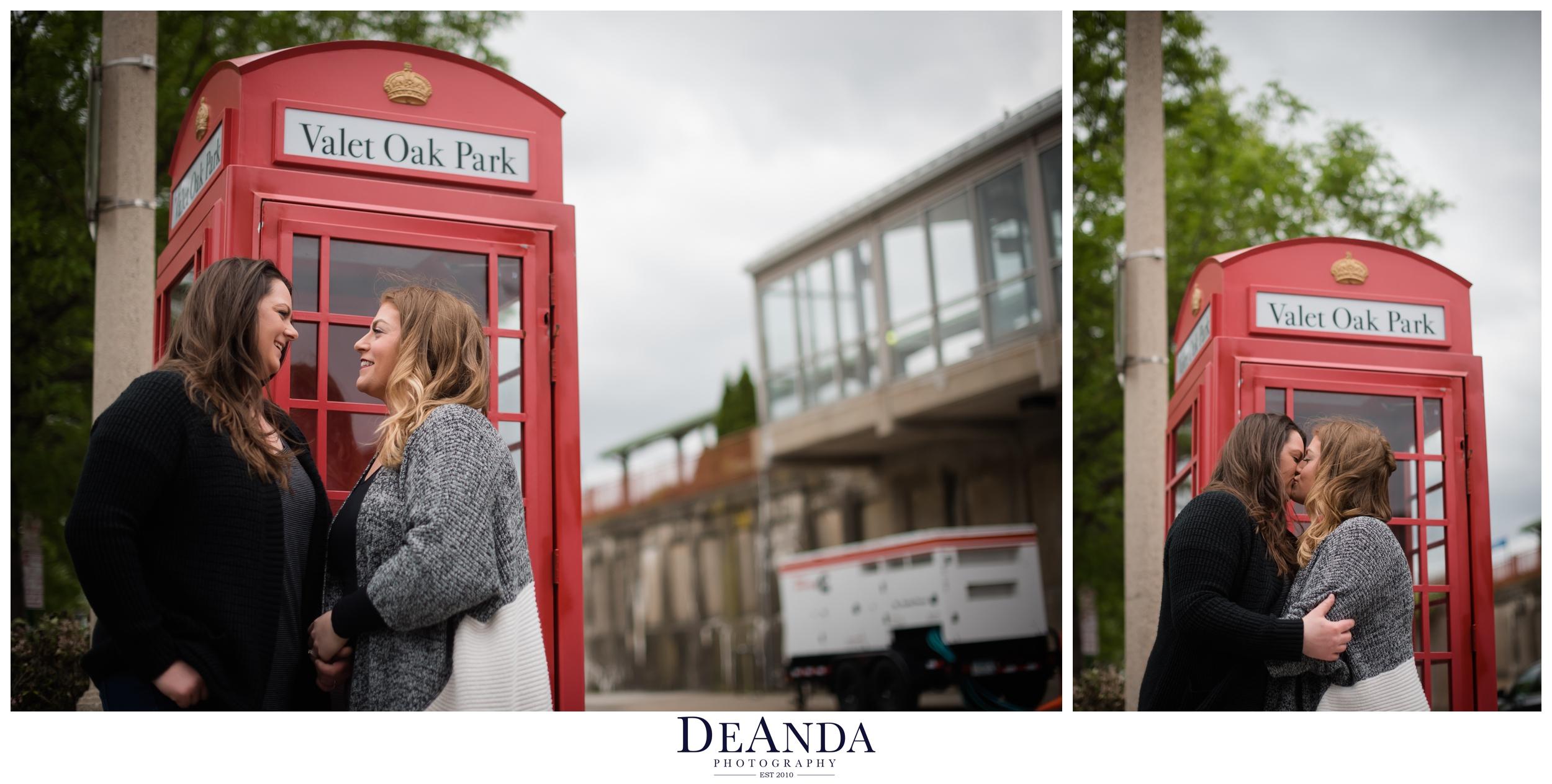 downtown oak park engagement photo ideas