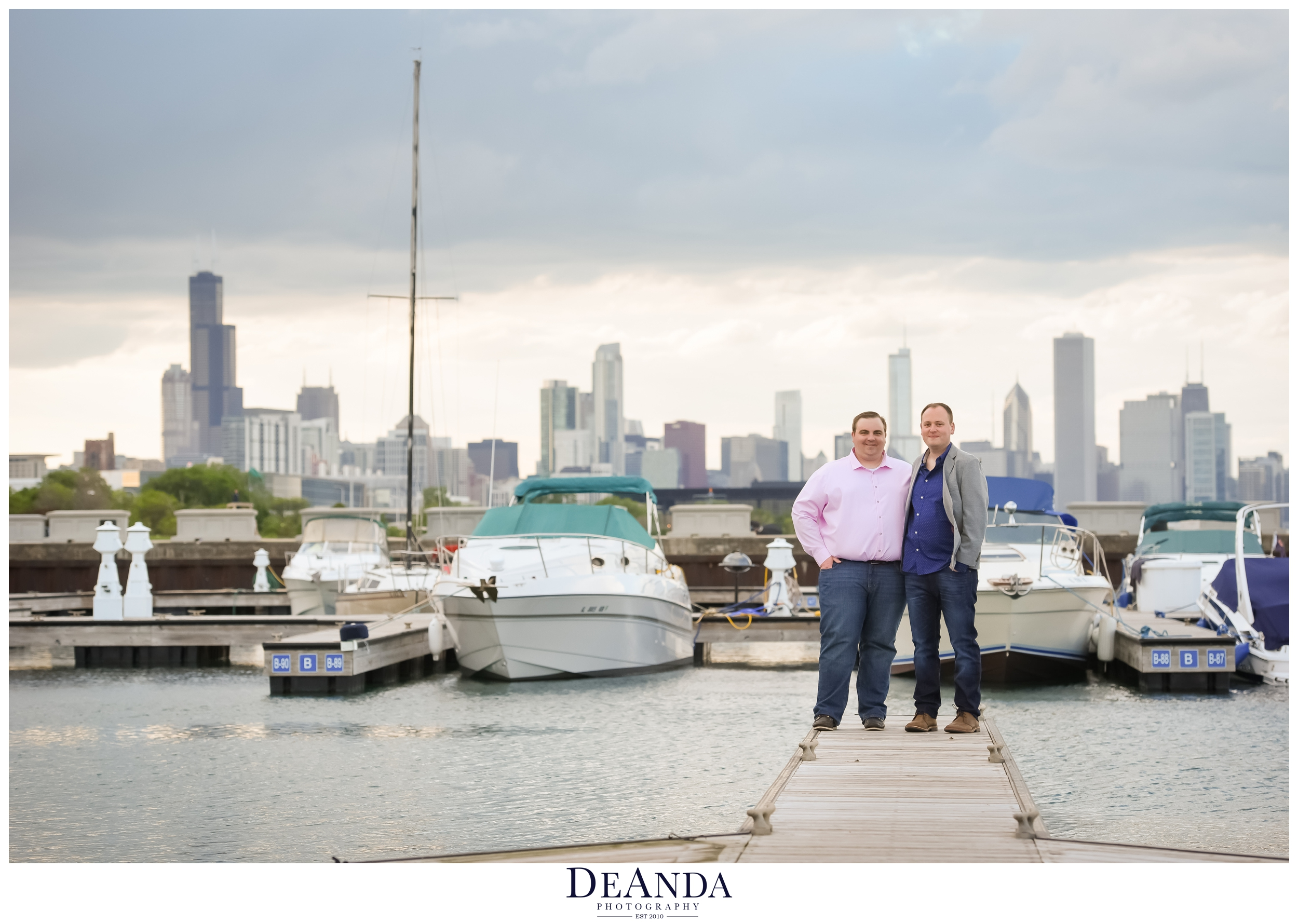 31st street harbor chicago engagement photos with chicago skyline