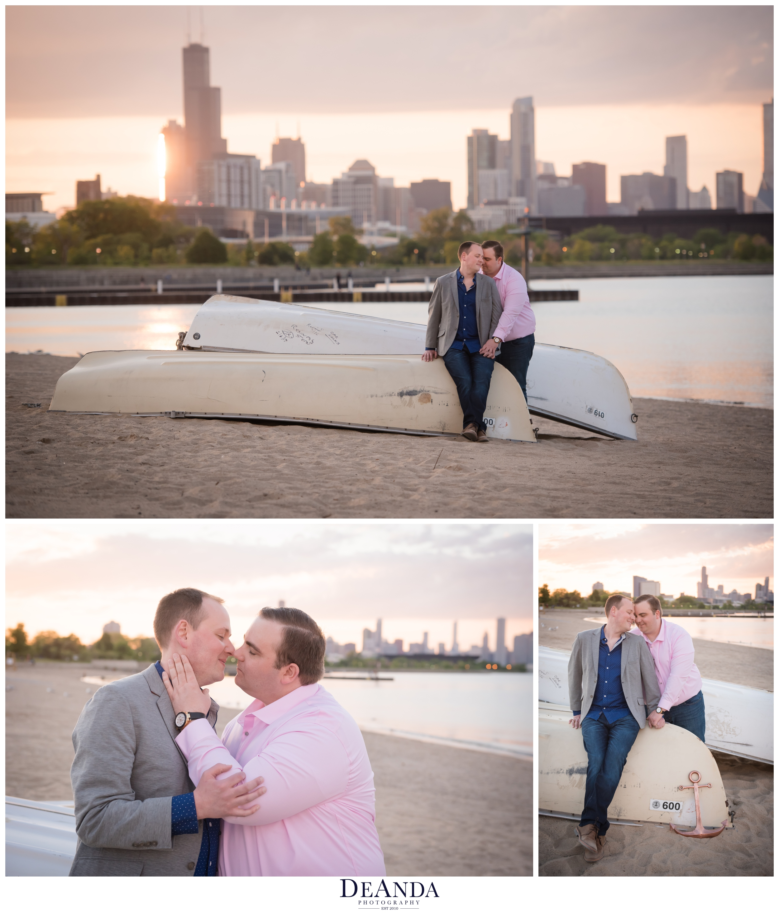 engagement photos at sunset on 31st street beach chicago