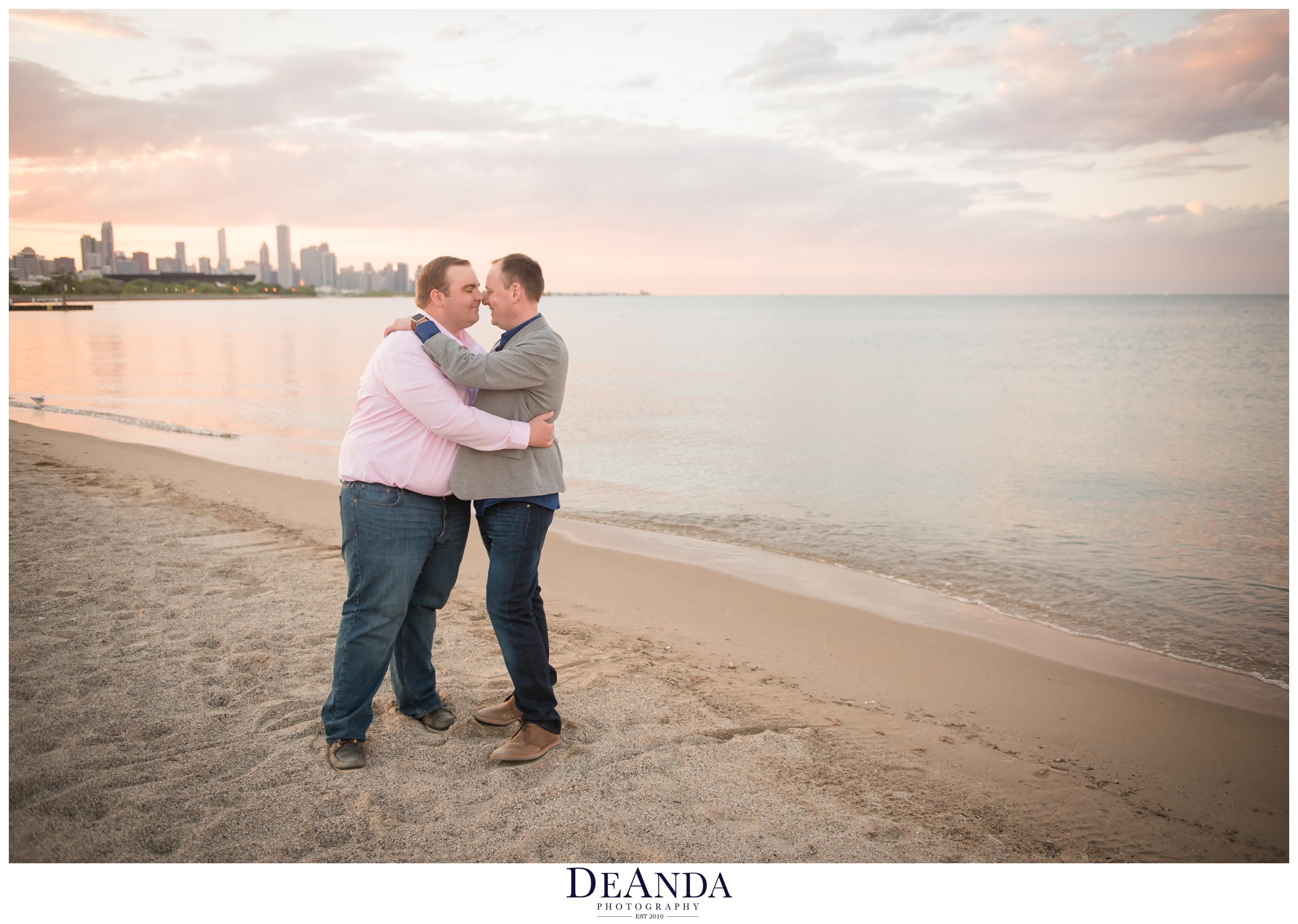 sunset engagement photos at 31st street beach in chicago
