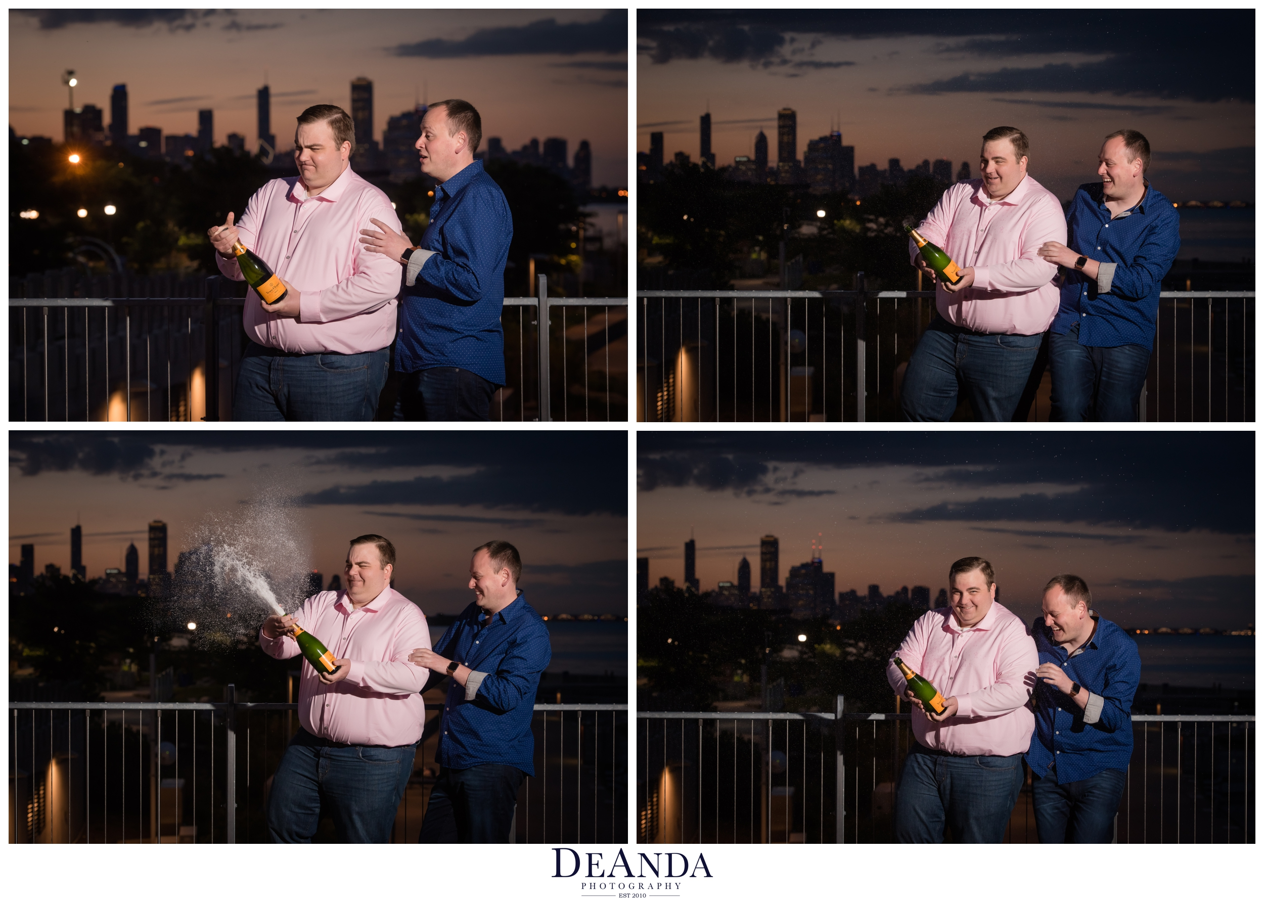 popping champagne engagement photos chicago