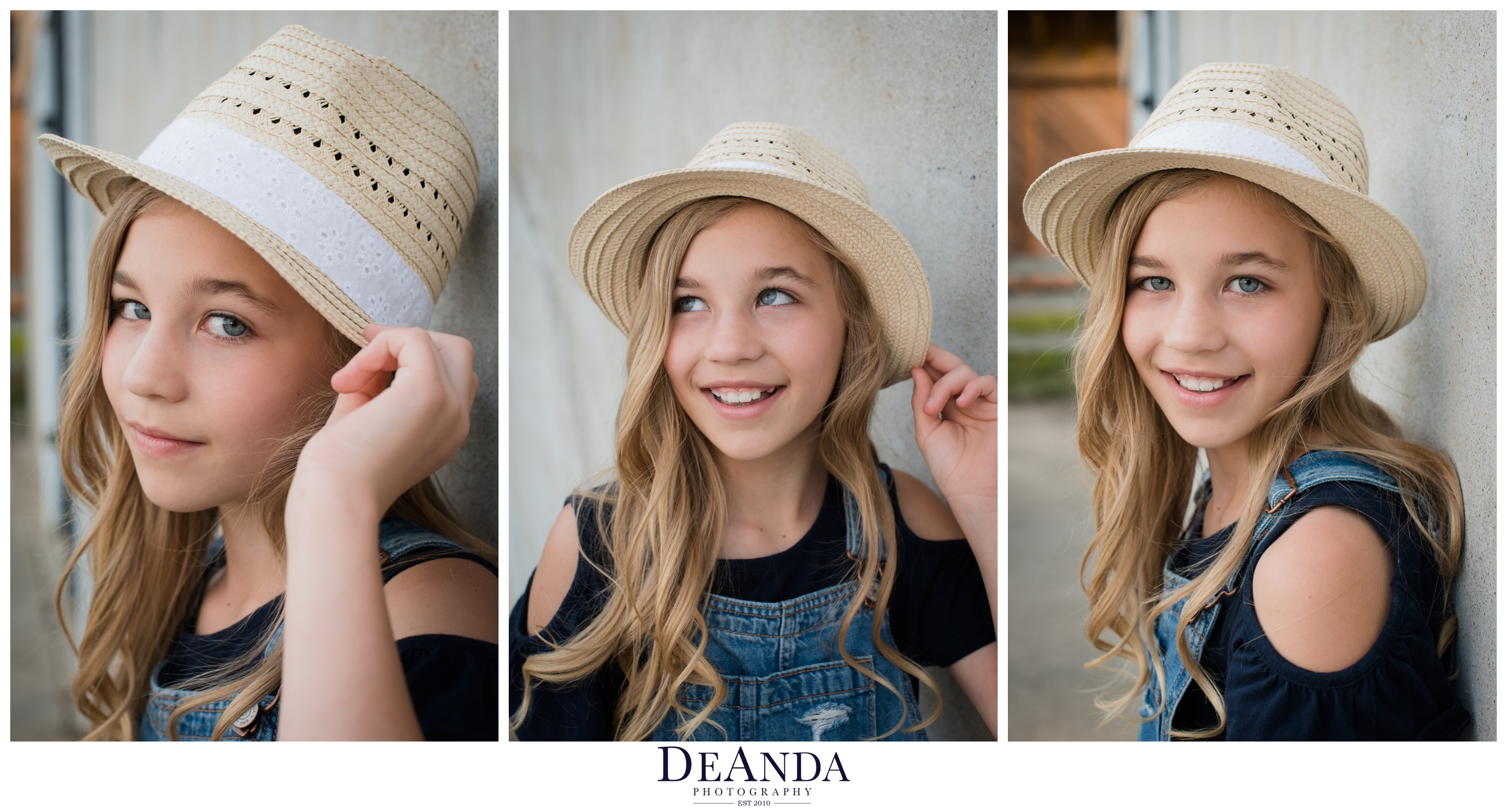 tween model session in hat