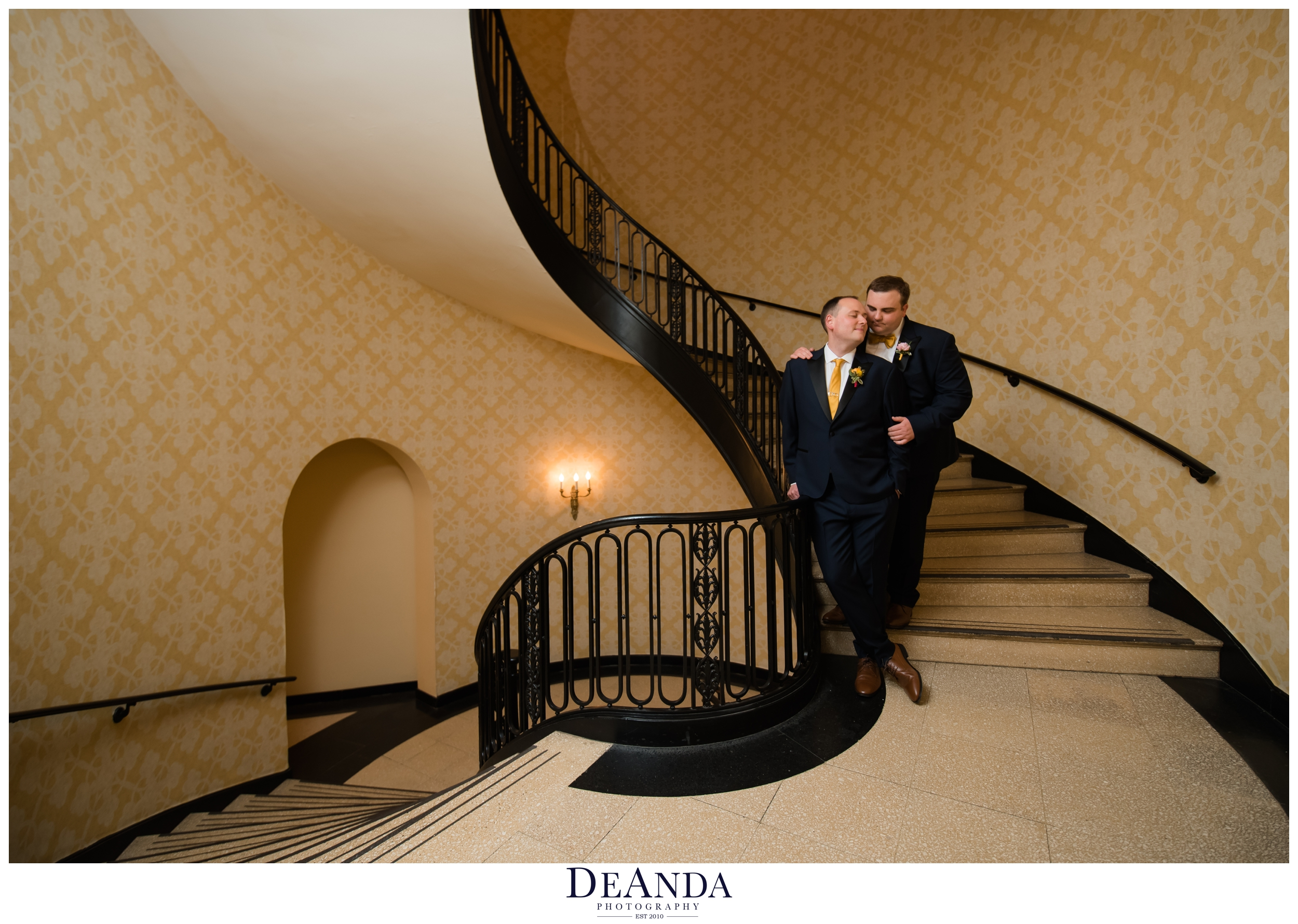 same sex couple wedding day photos in chicago hotel