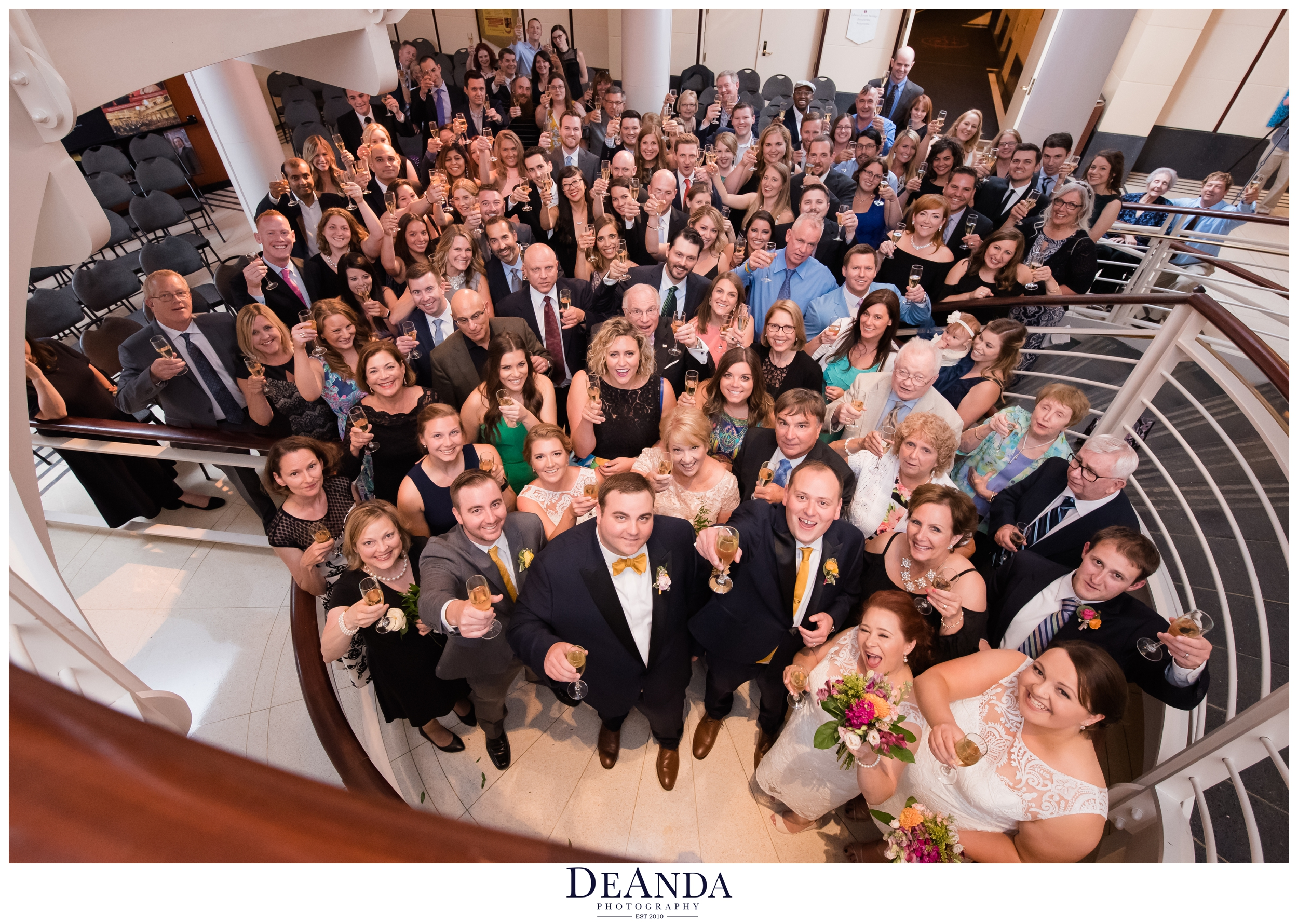 whole wedding of over 100 people photo at symphony center