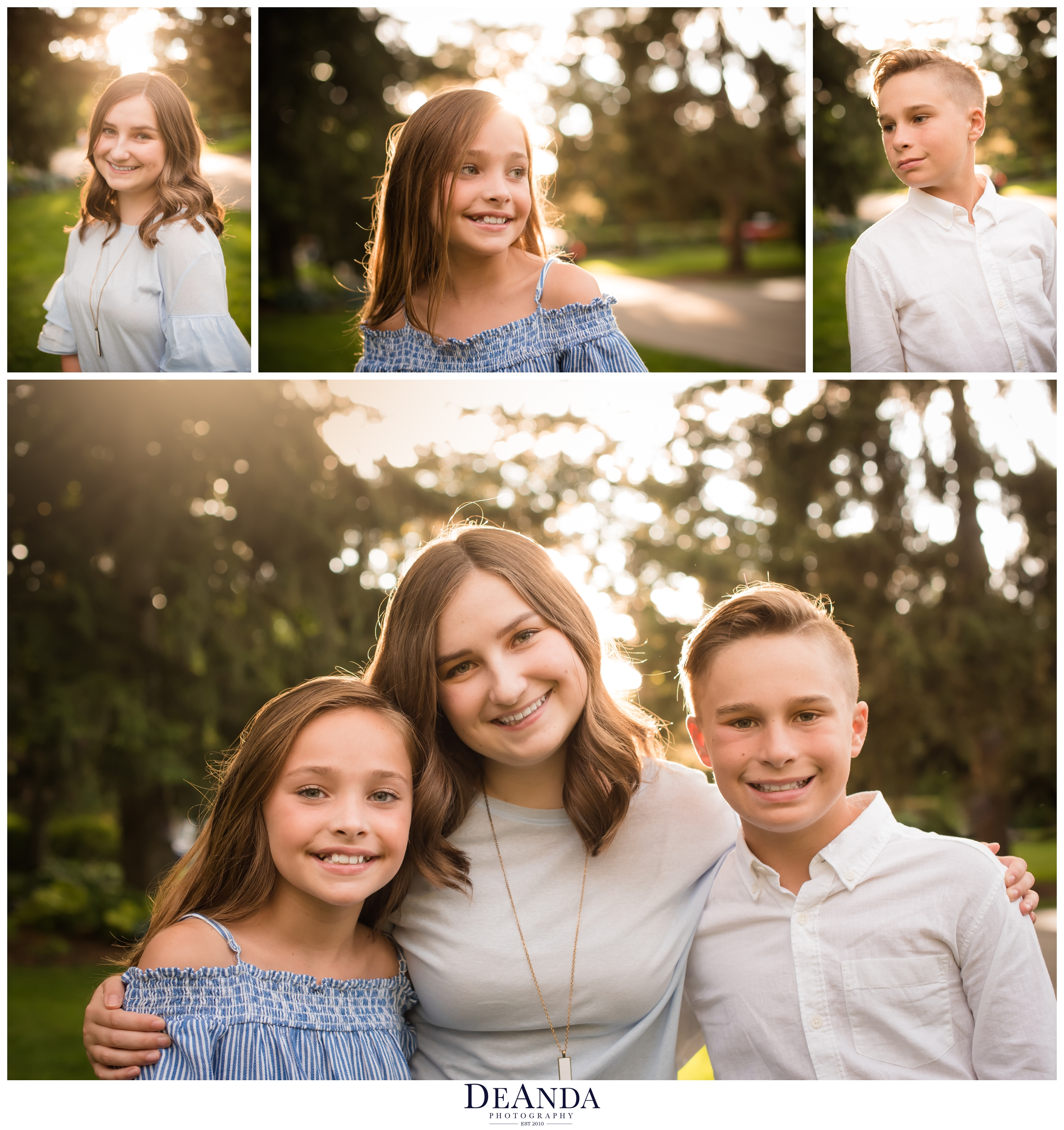 Arlington Heights family photo of kids backlit