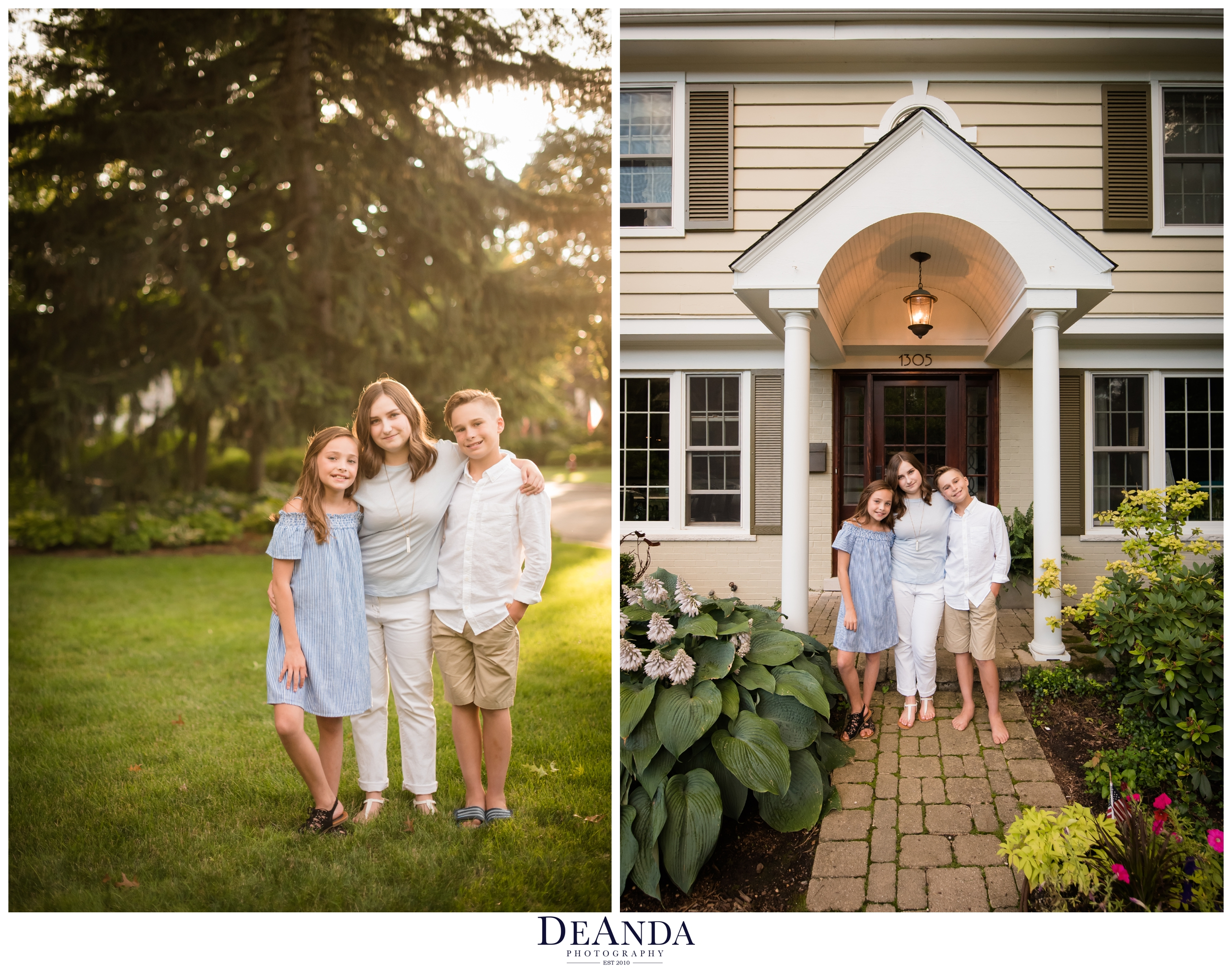 portraits of kids in front of home before they move