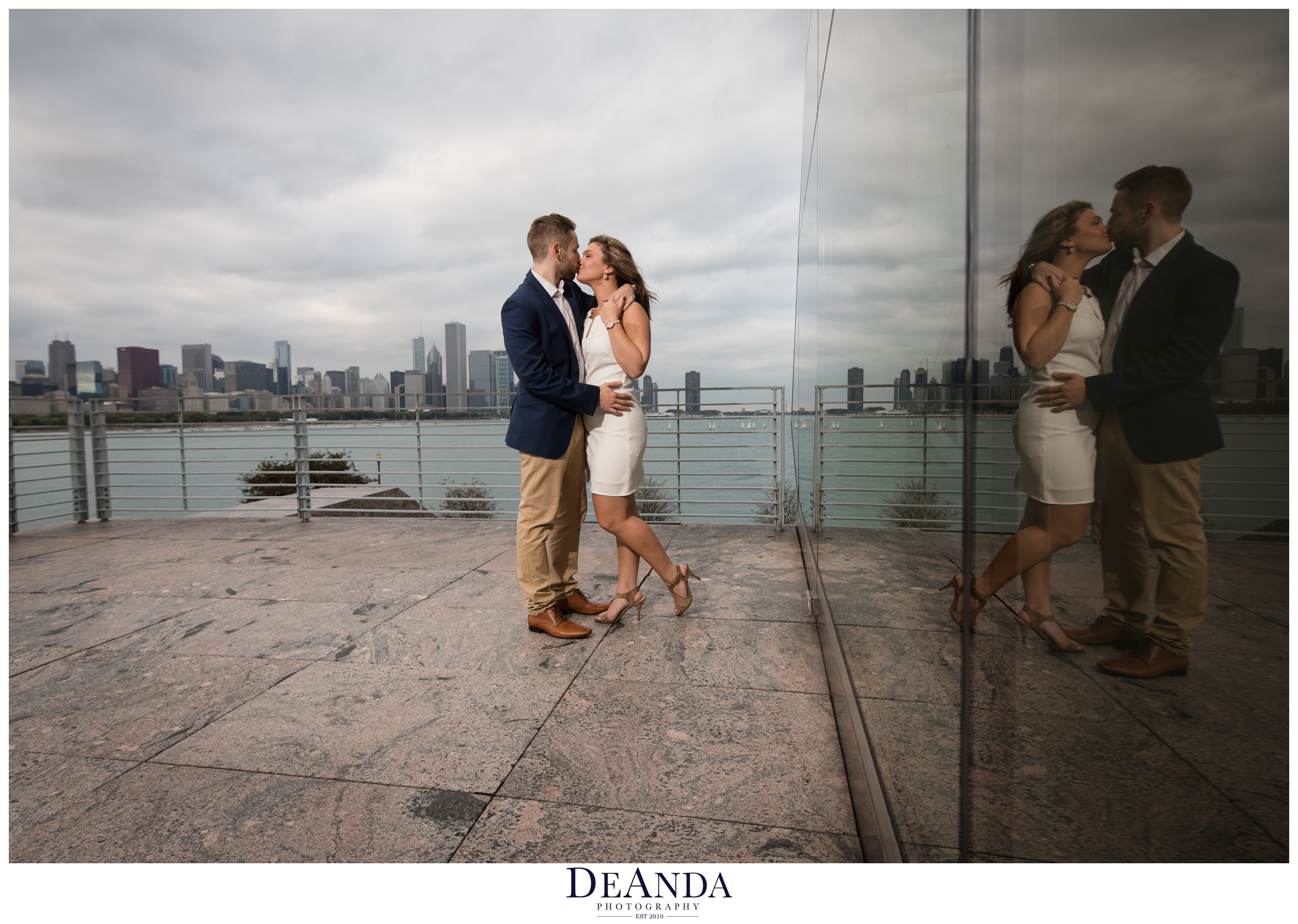 chicago engaged couple photography near adler planetarium