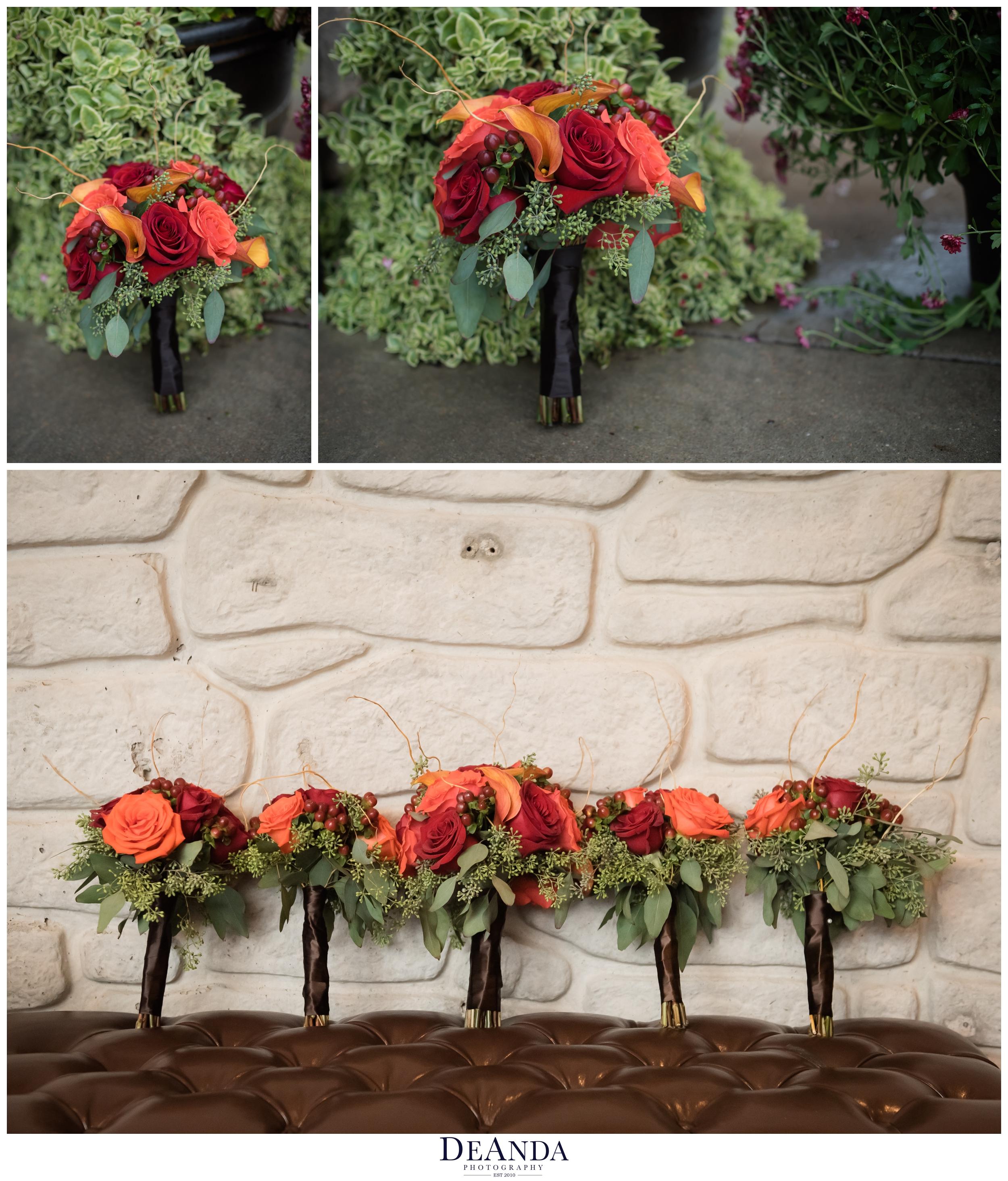 brides bouquet and bridesmaids bouquets