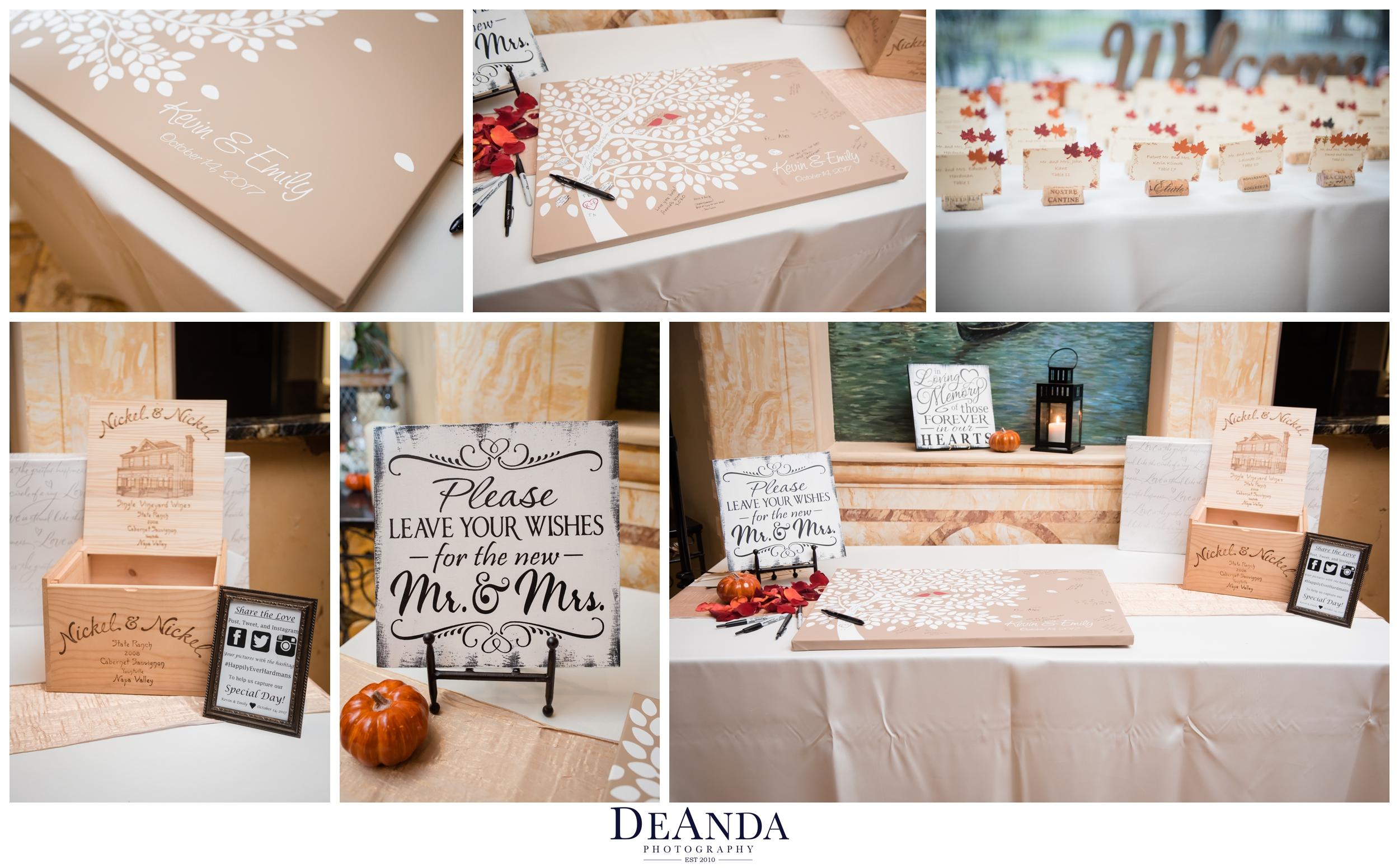 reception decor at acquaviva winery in maple park