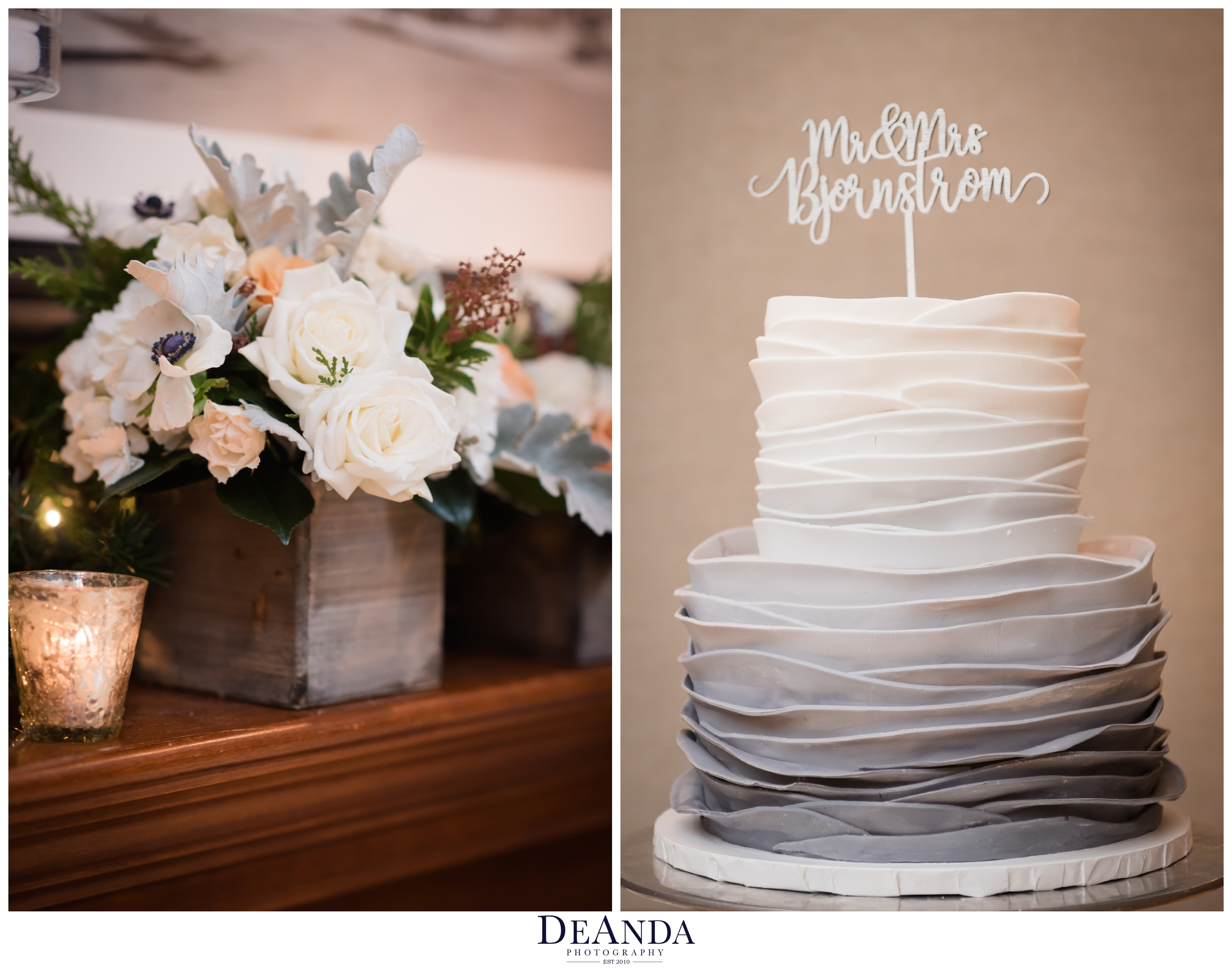 grey ombre wedding cake