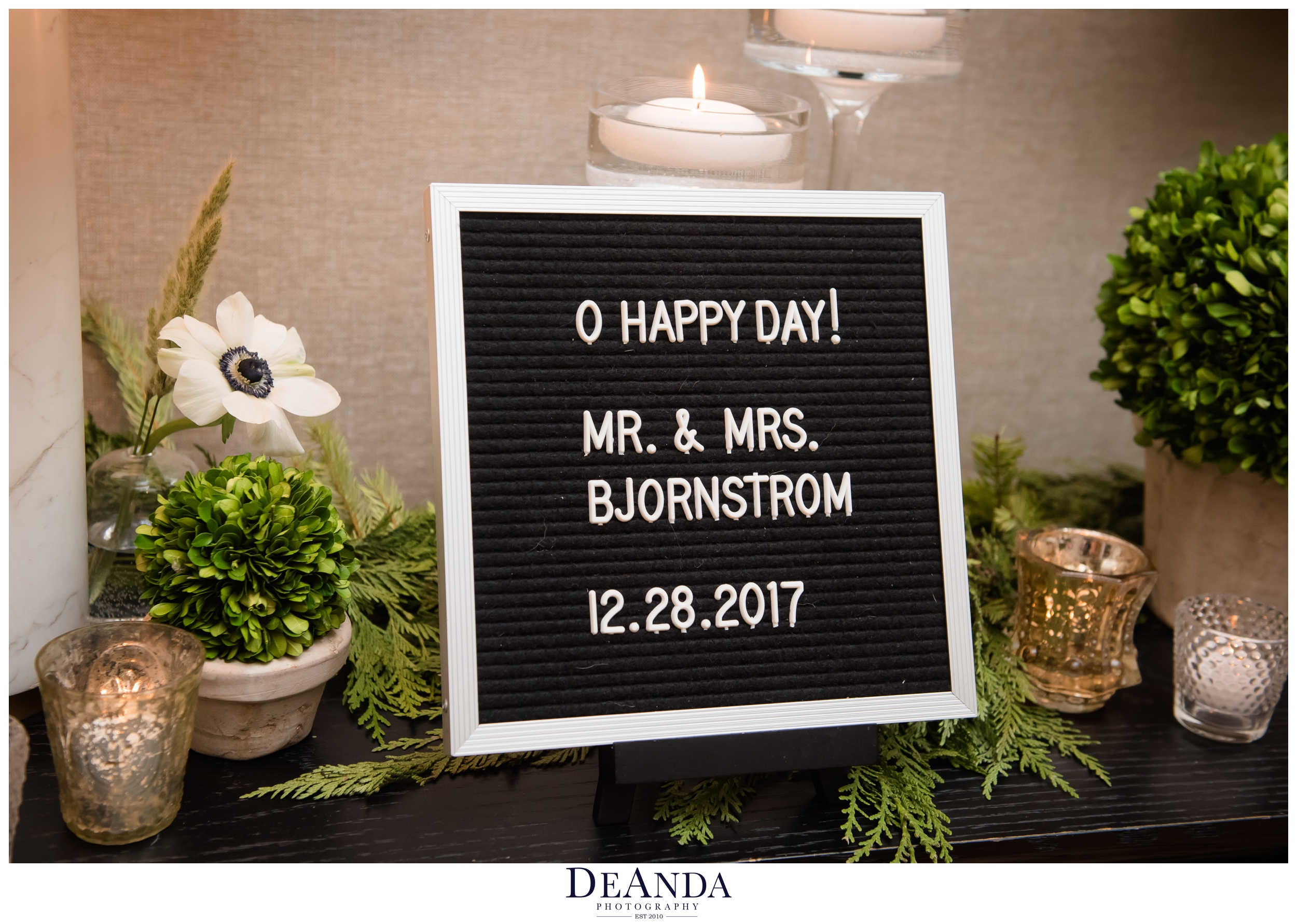 wedding sign at one tree studios chicago