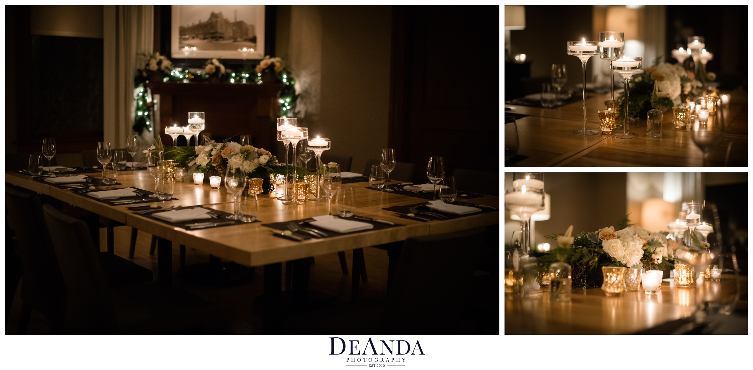 romantic candle lit table scape at tree studios