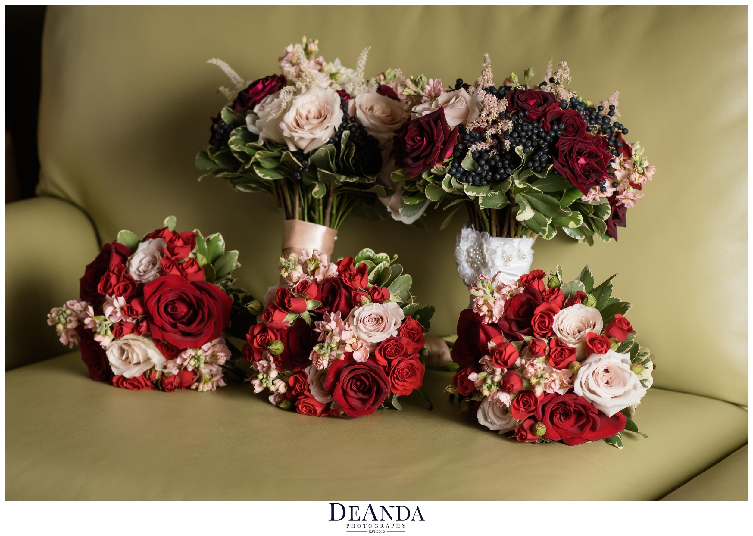 two brides wedding flowers
