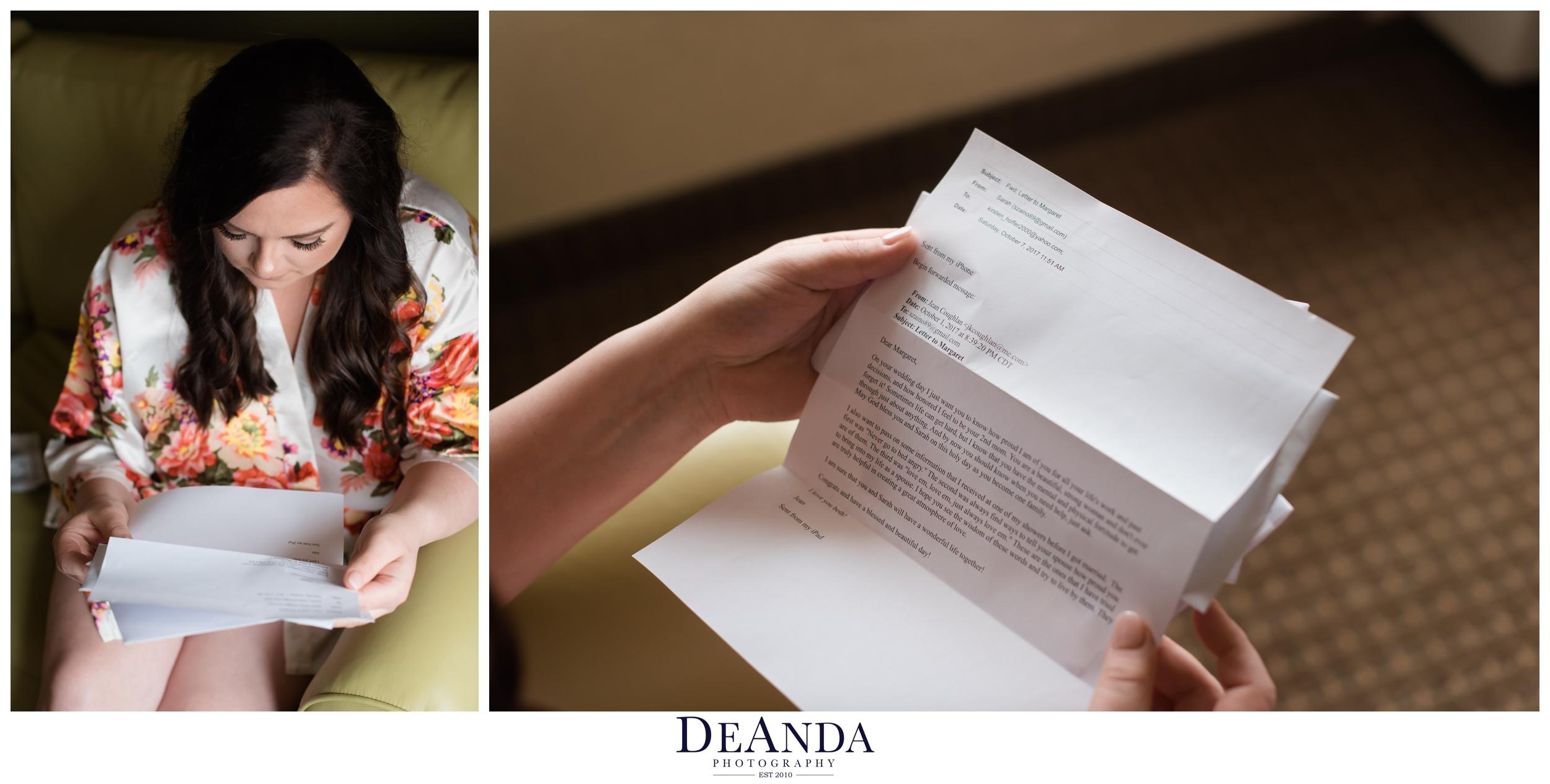 bride reading letter before wedding