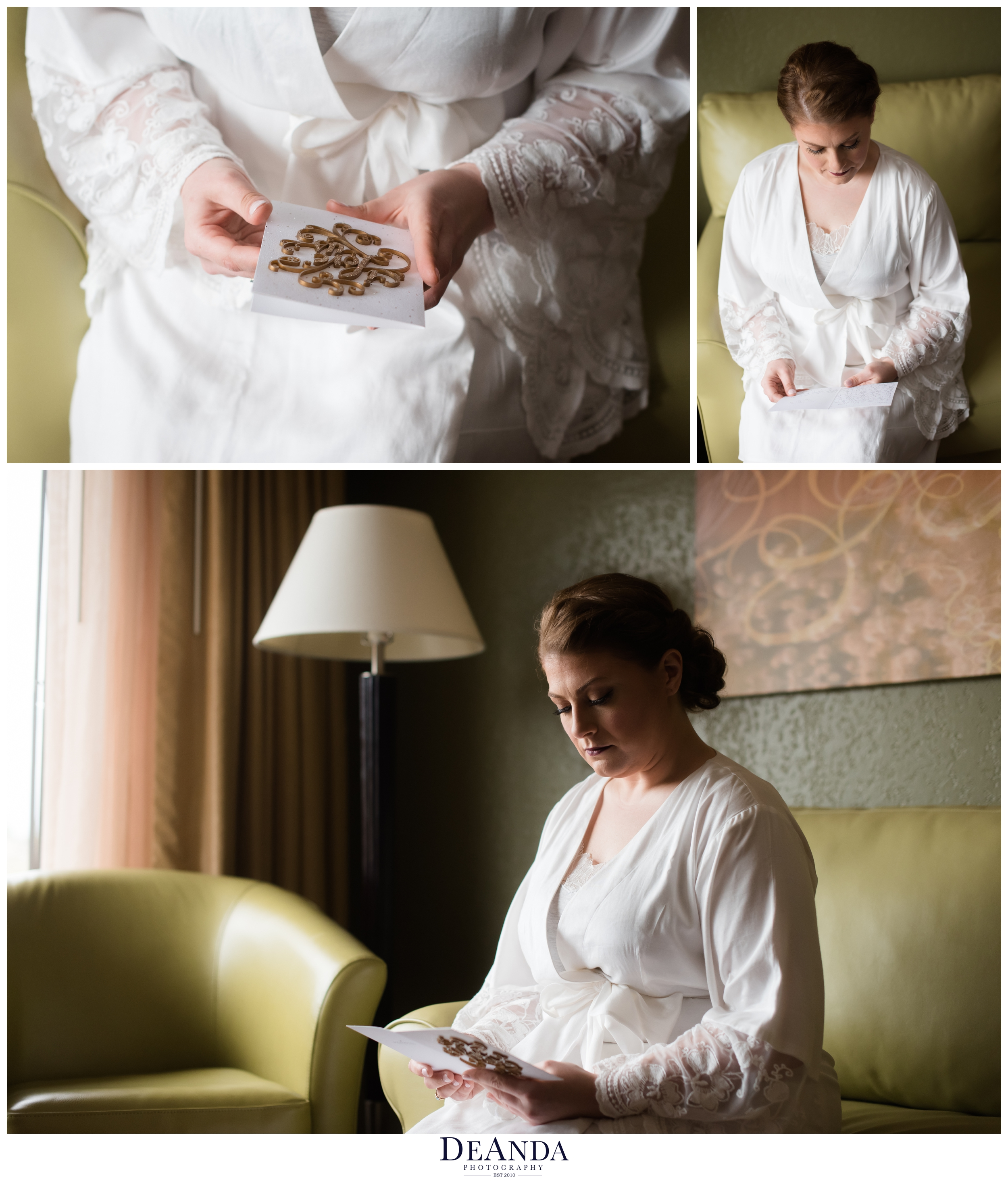 bride reading a letter from her bride to be at same sex wedding in illinois