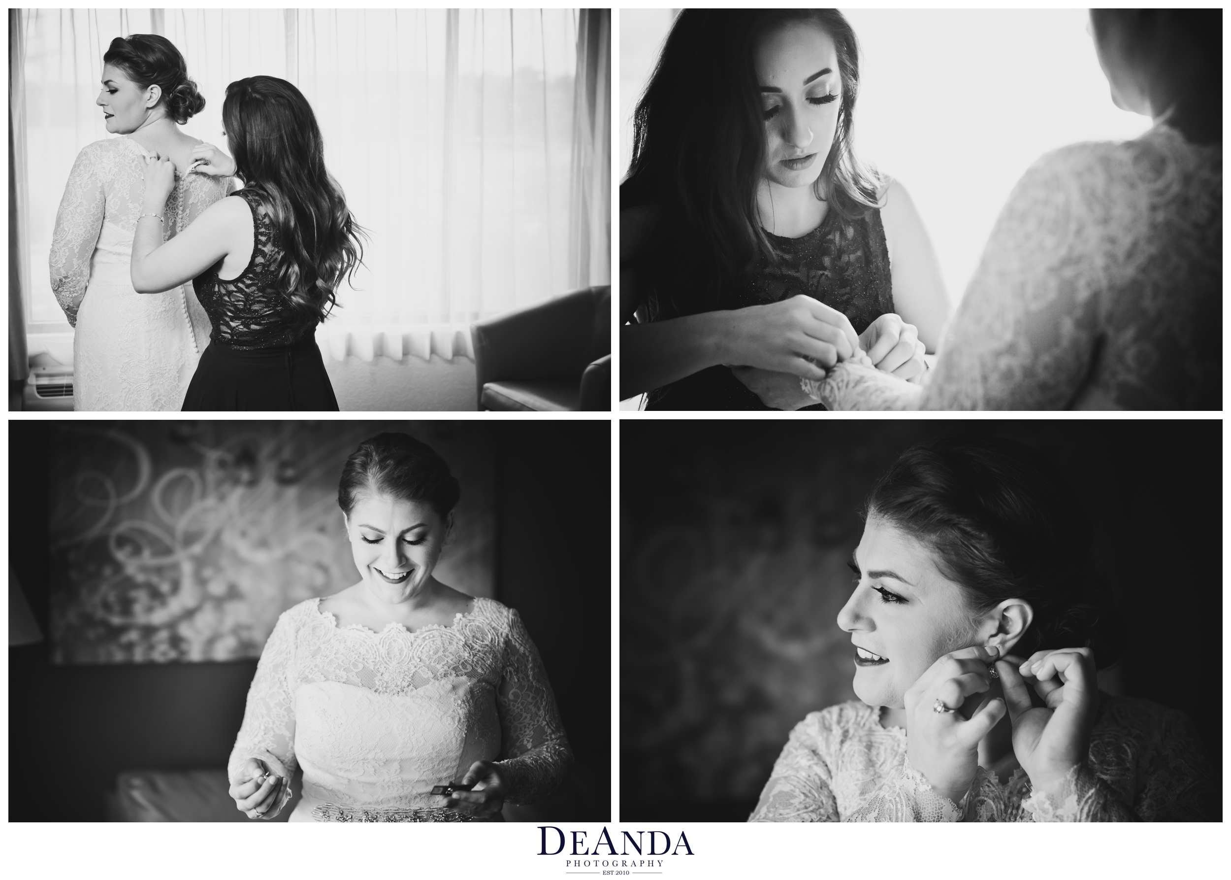 bride putting on the finishing touches