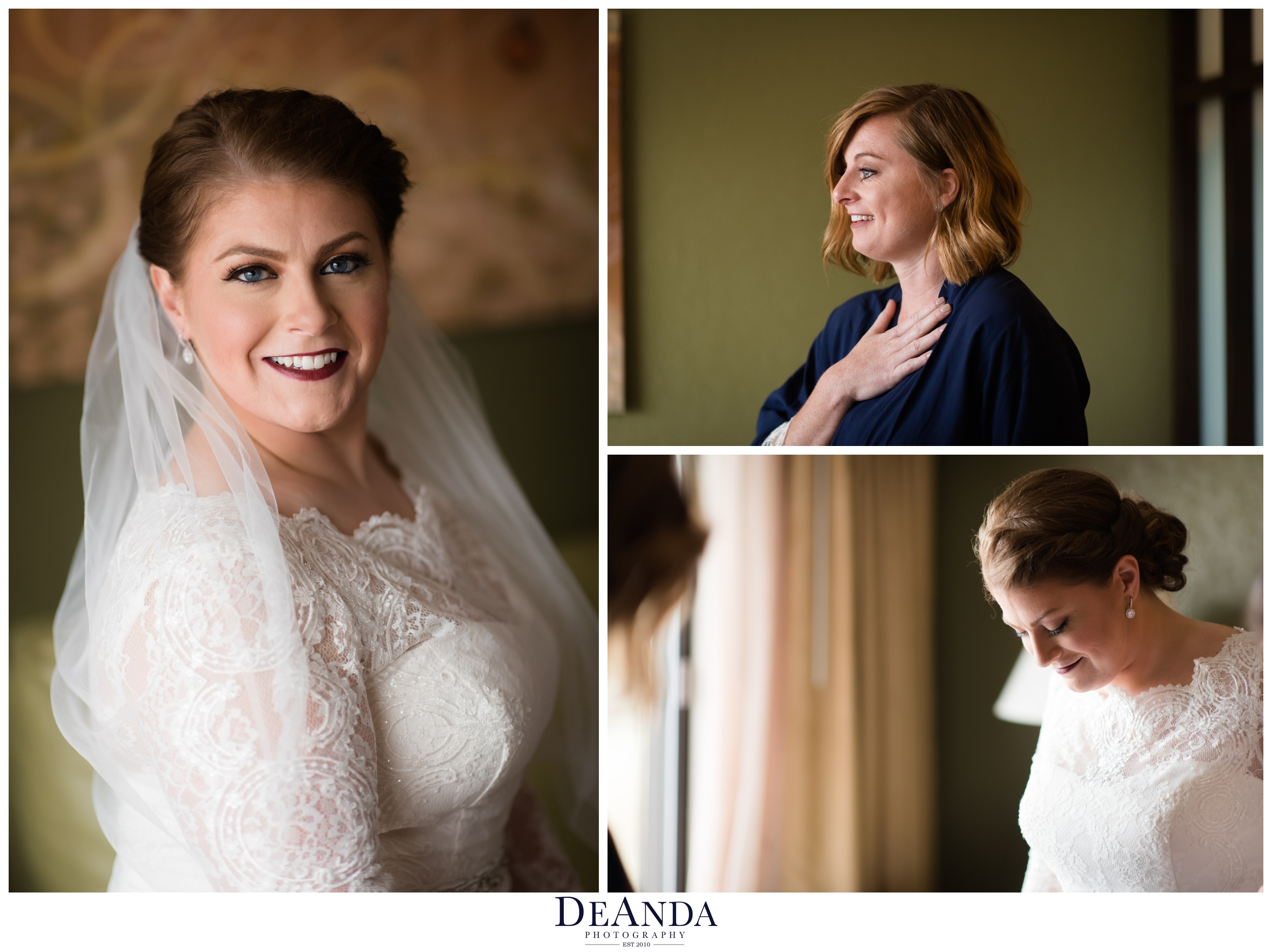 bride ready and sister gasping seeing her for the first time crying