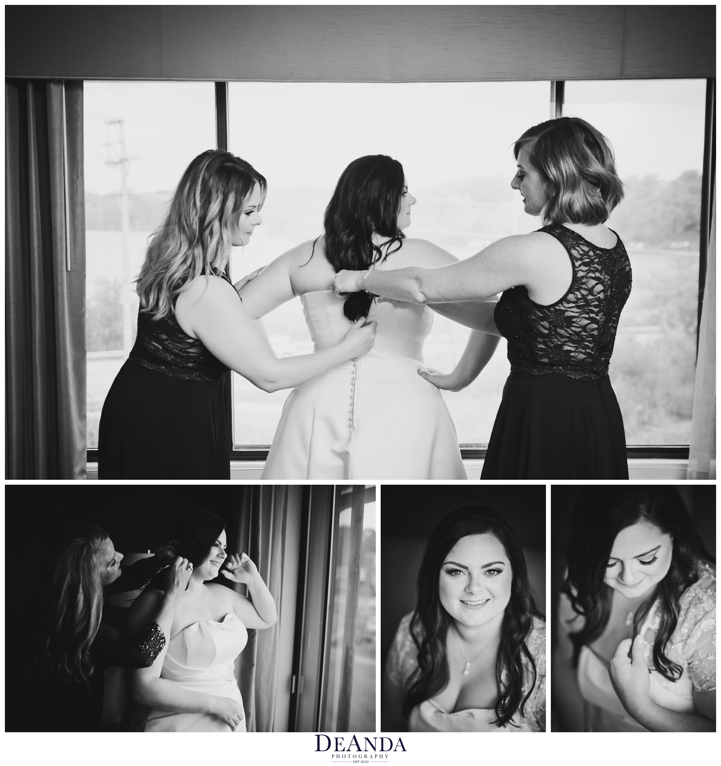photo of bride getting ready in black and white in chicago