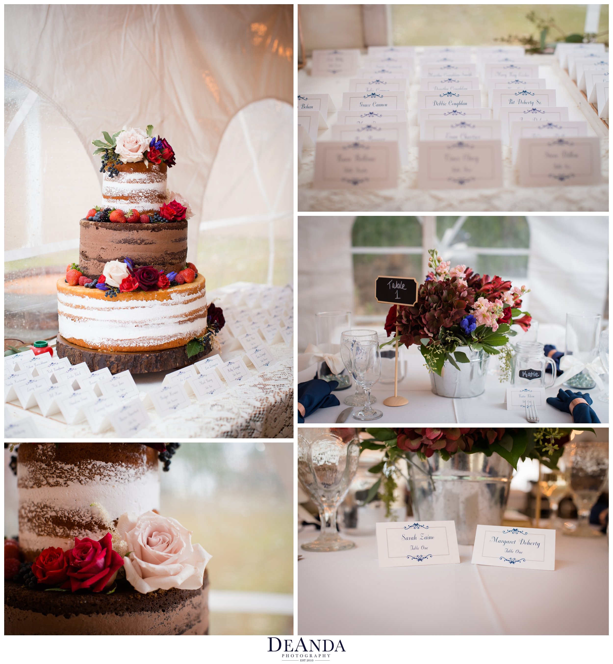 naked wedding cake in tent