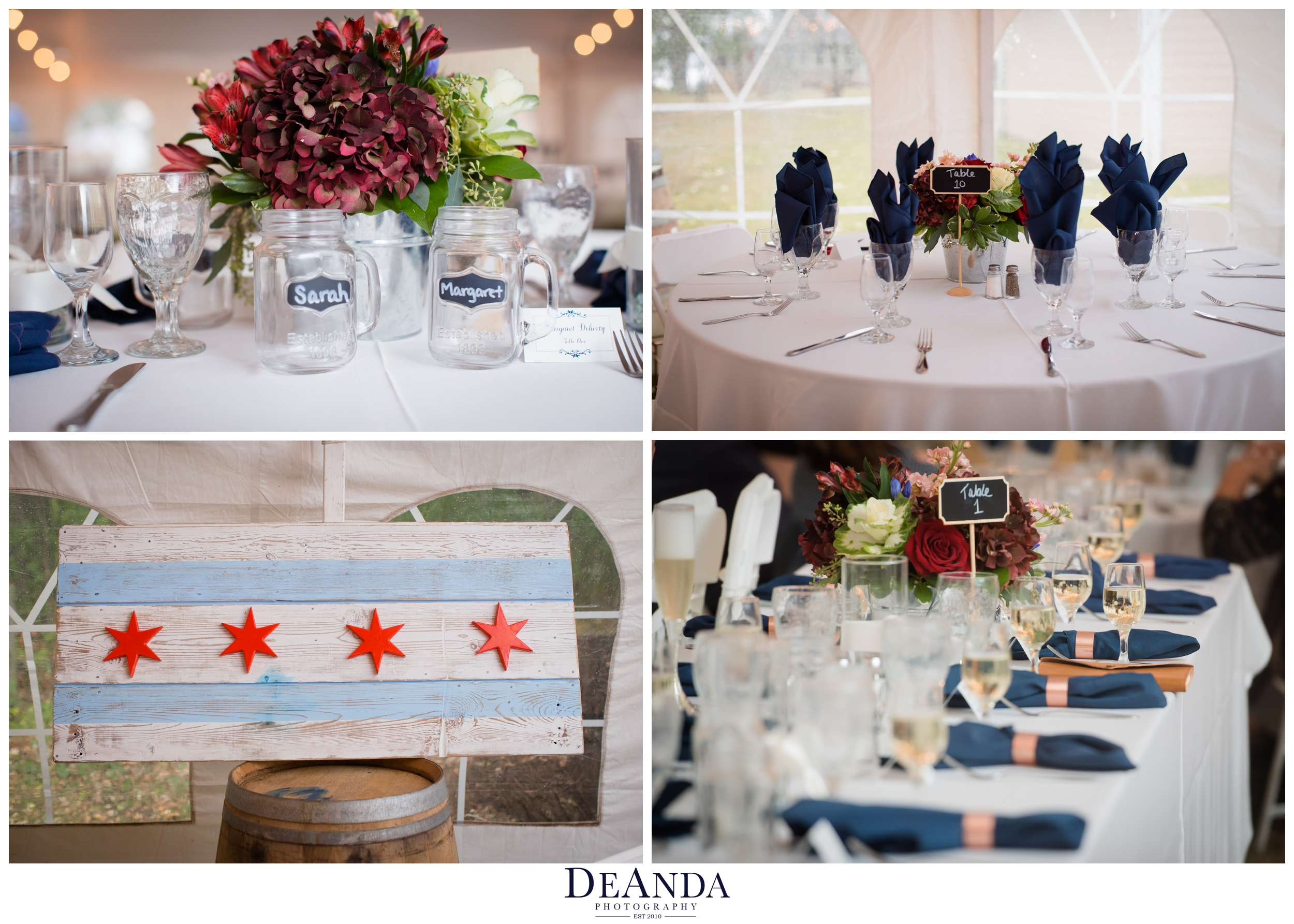 chicago wedding details in reception in a tent