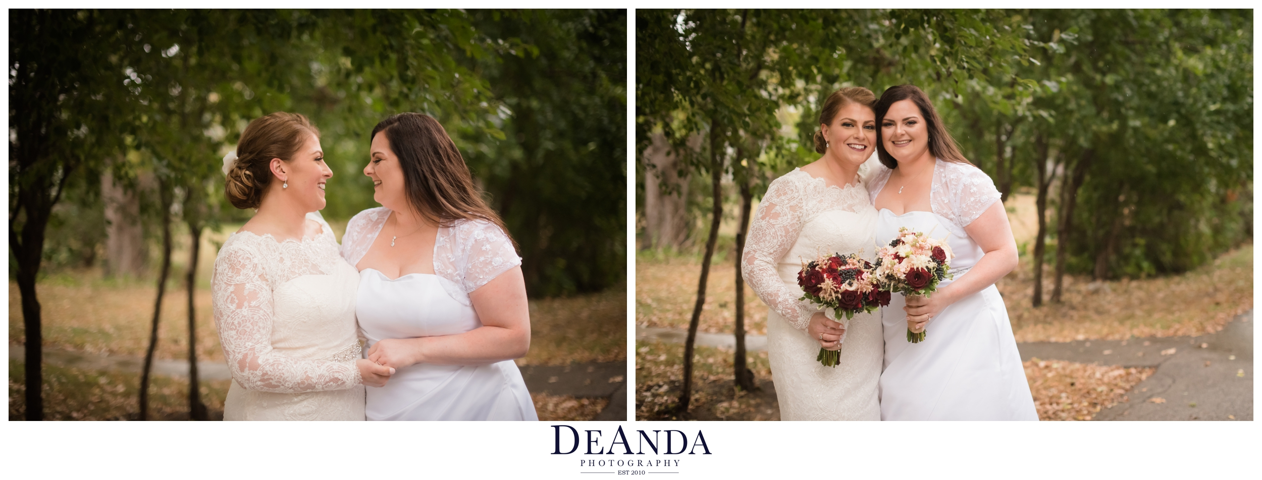 beautiful brides portrait of same sex couple in front of green trees