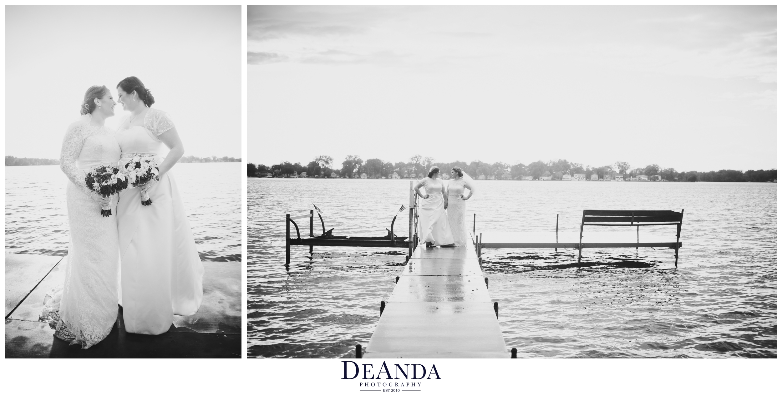 beautiful brides portrait of same sex couple on a lake pier over the water