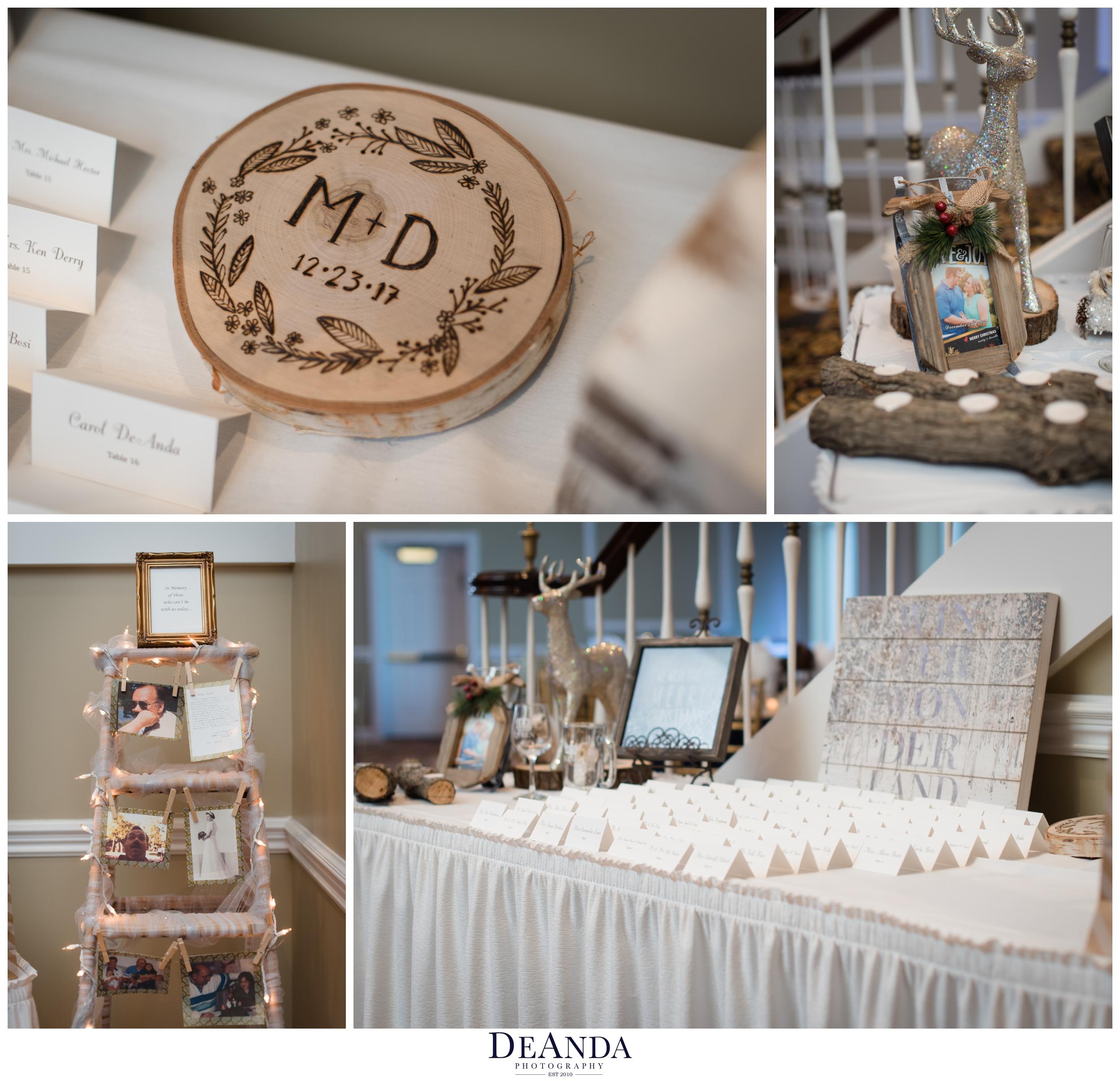 diy wedding details at christmas wedding