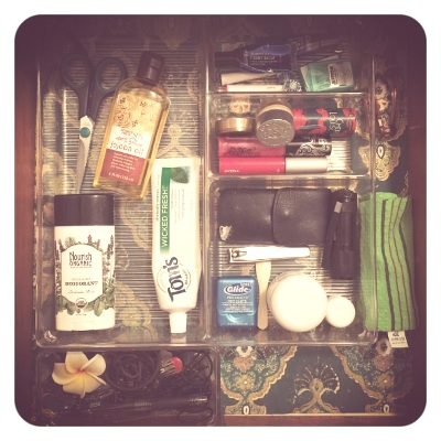 My toiletry drawer - I removed JT's few items for the photo.