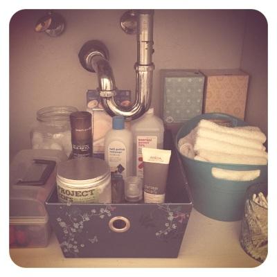 Under the sink - my side.