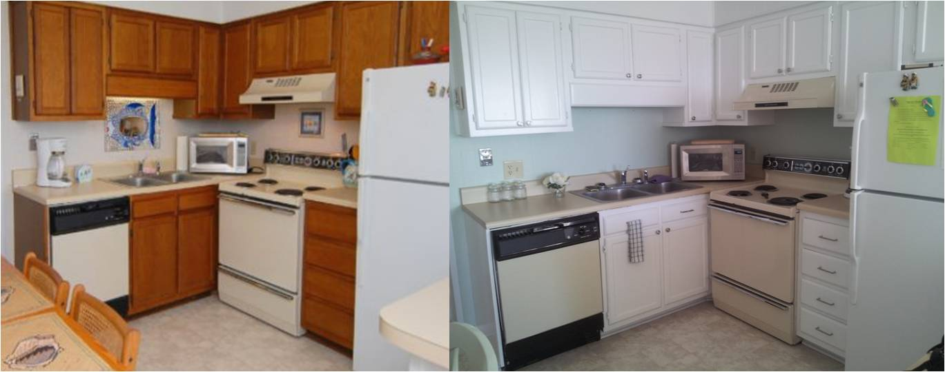EB Loves Old Houses | White Painted Cabinets - Small Beach Condo Kitchen