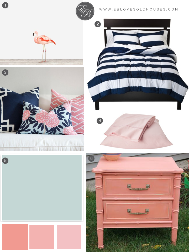 Elizabeth Burns Design | Beach Room Design - Navy and Pink Bedroom with Flamingo Decor