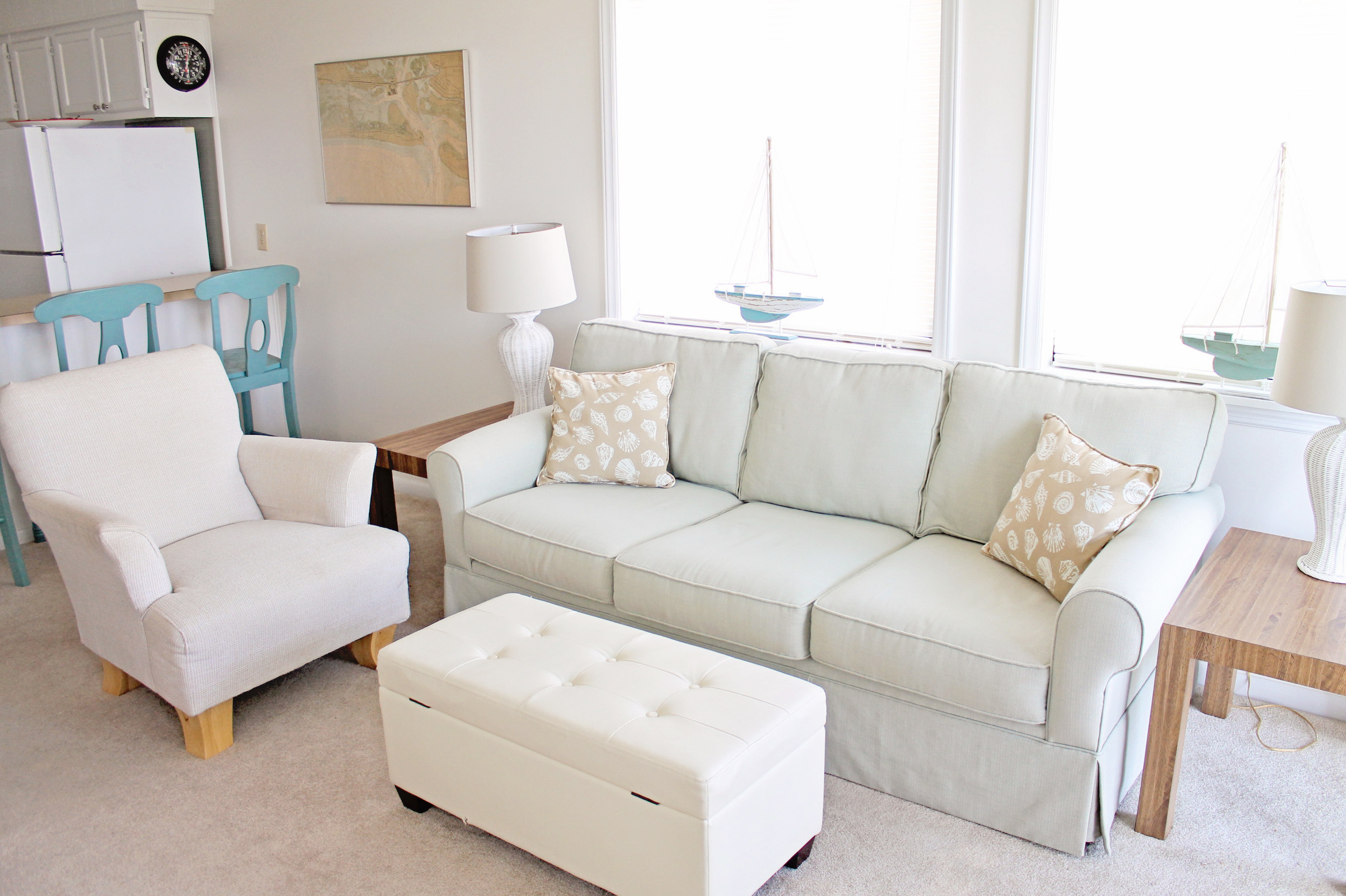Elizabeth Burns Design | Beach Condo Before and After - beach decor ideas using sea foam green and aqua blue