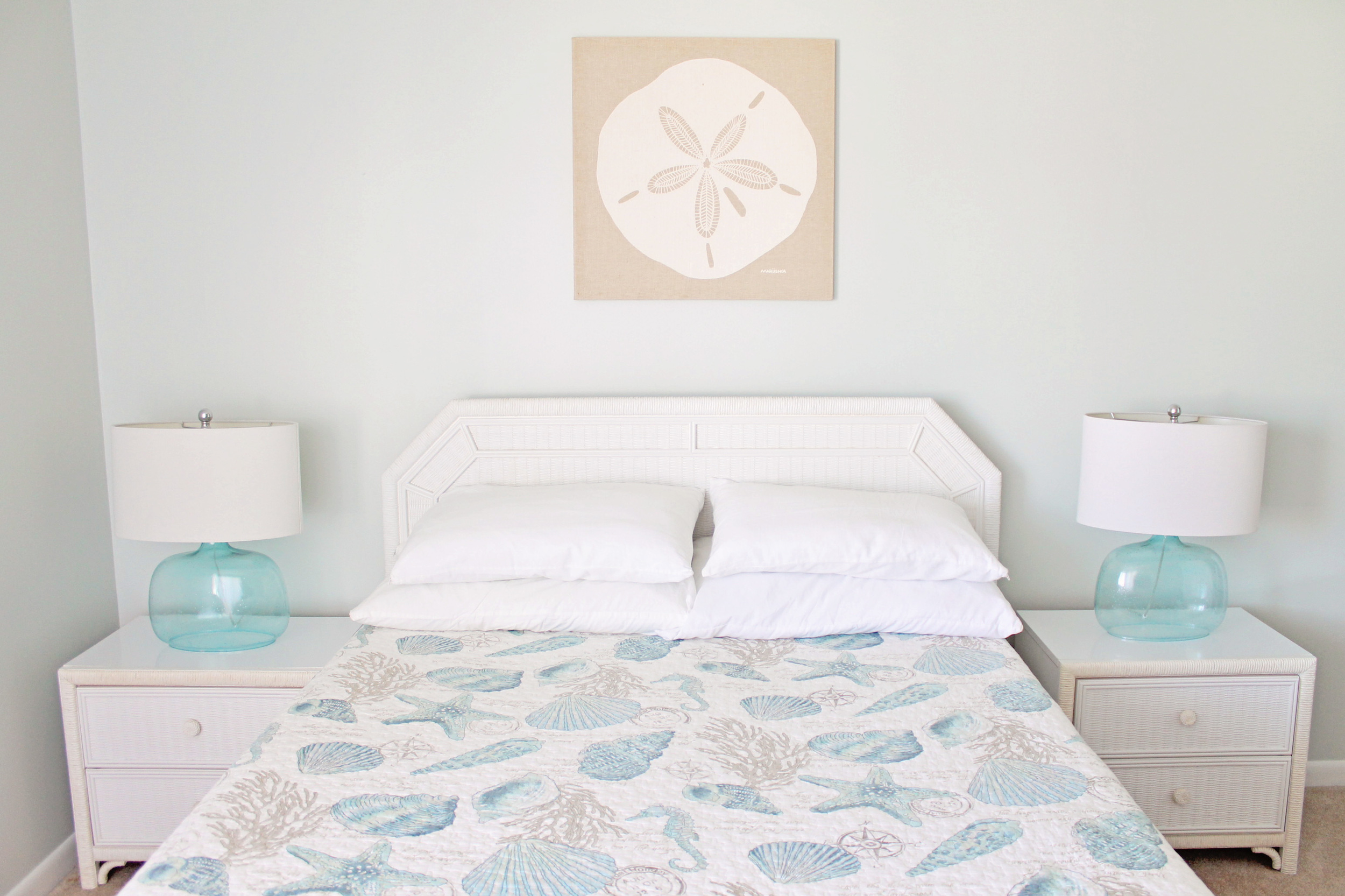 Elizabeth Burns Design | Sea Spray Condo Master Bedroom - Beach Decor