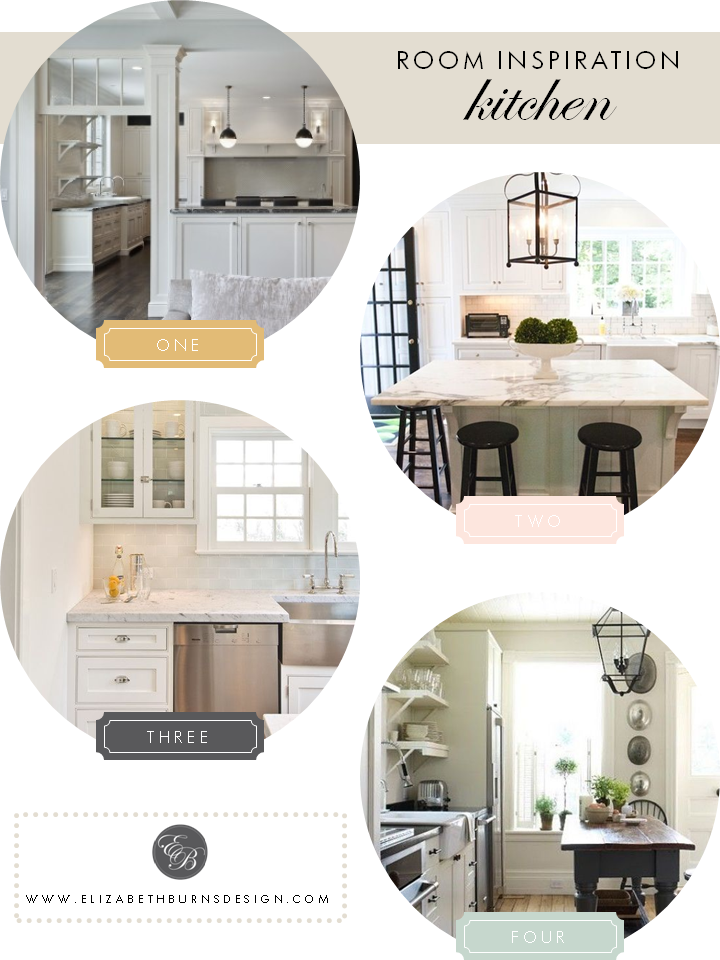 Elizabeth Burns Design   Kitchen Inspiration - white shaker cabinets, subway tile, marble countertops
