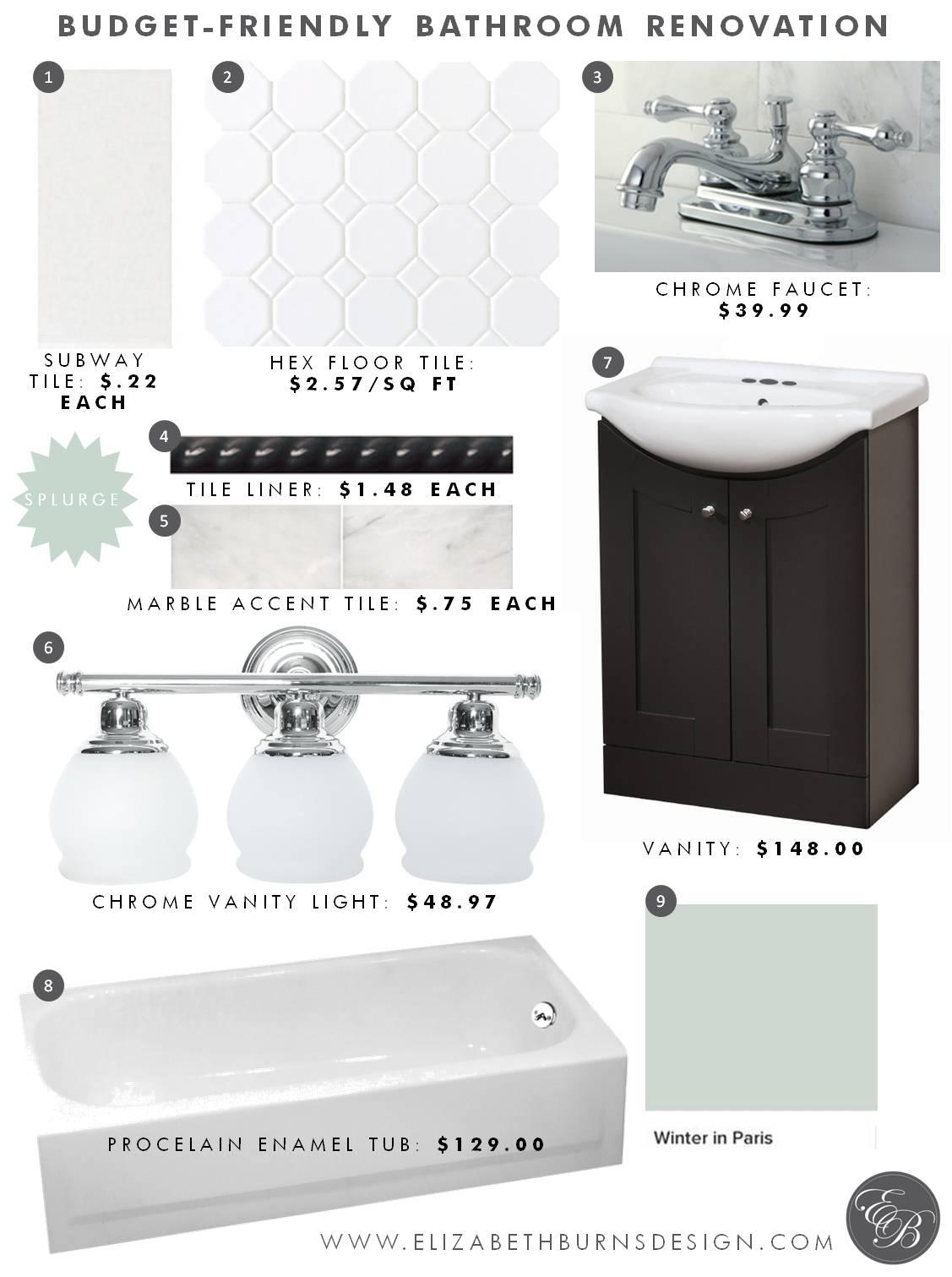 Elizabeth Burns Design | Budget Friendly Bathroom Design - Subway Tile, Chrome Faucet, Chrome Light, Marble Accent, Hex Tile