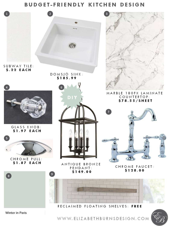 Elizabeth Burns Design | Budget Friendly Kitchen Design Myrtle House - Formica Marble Counters, Subway Tile, Chrome Faucet