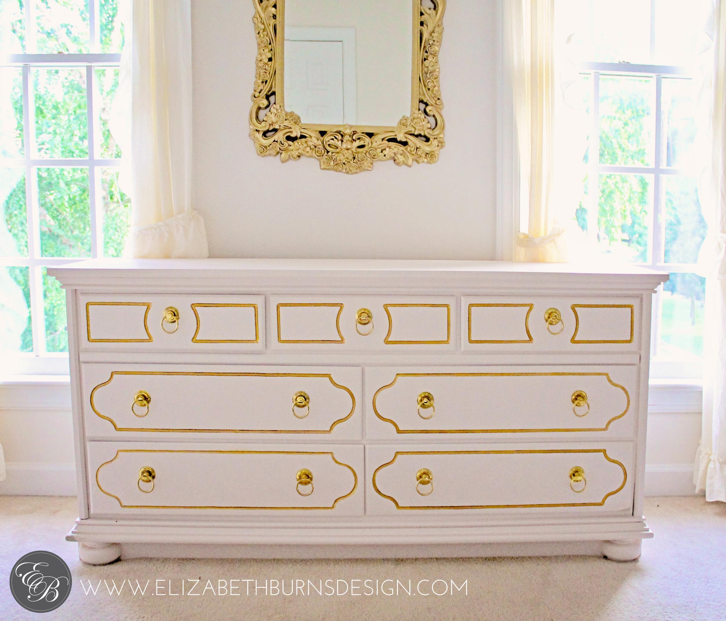 Elizabeth Burns Design | Pink and Gold Dresser