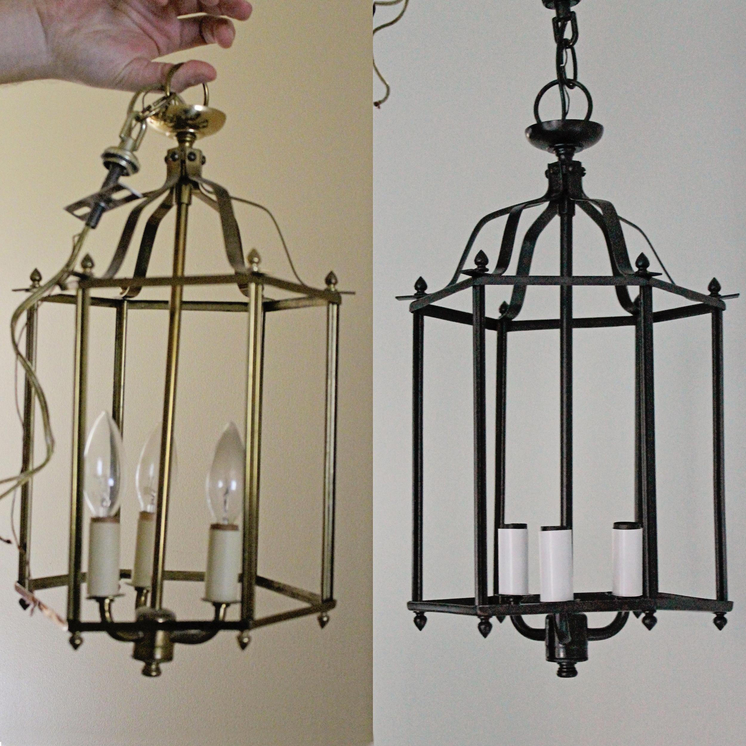 Elizabeth Burns Design - brass pendant chandelier makeover DIY