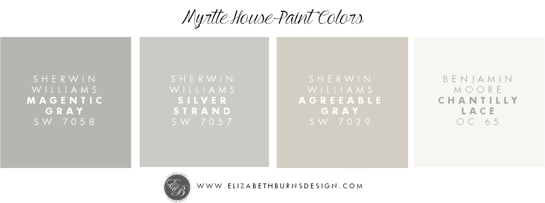 Elizabeth Burns Design | Myrtle House Paint Colors - Sherwin Williams Magnetic Gray SW 7058, Sheriwn Williams Silver Strand SW 7057, Sherwin Williams Agreeable Gray SW 7029, Benajmin Moore Chantilly Lace OC 65