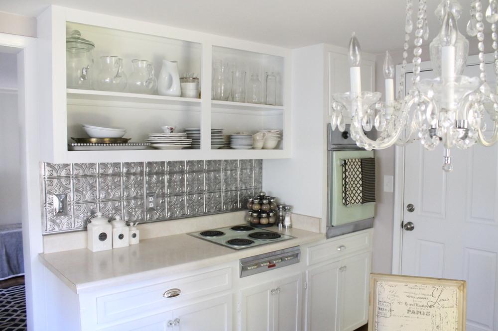 Inexpensive Faux Tin Backsplash — Elizabeth Burns Design ...