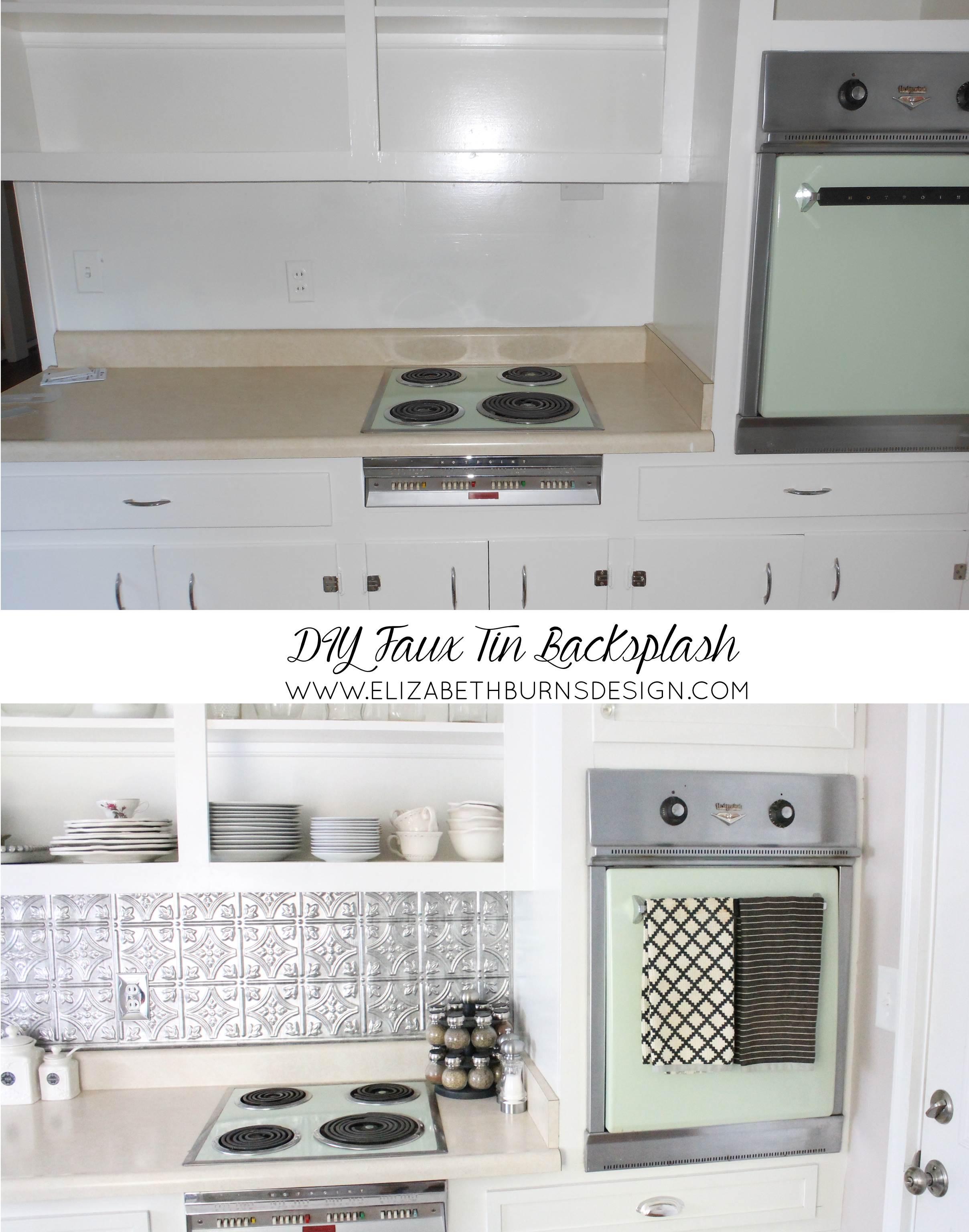 Elizabeth Burns Design | Brooklyn House Faux Tin Backsplash Budget Kitchen Makeover
