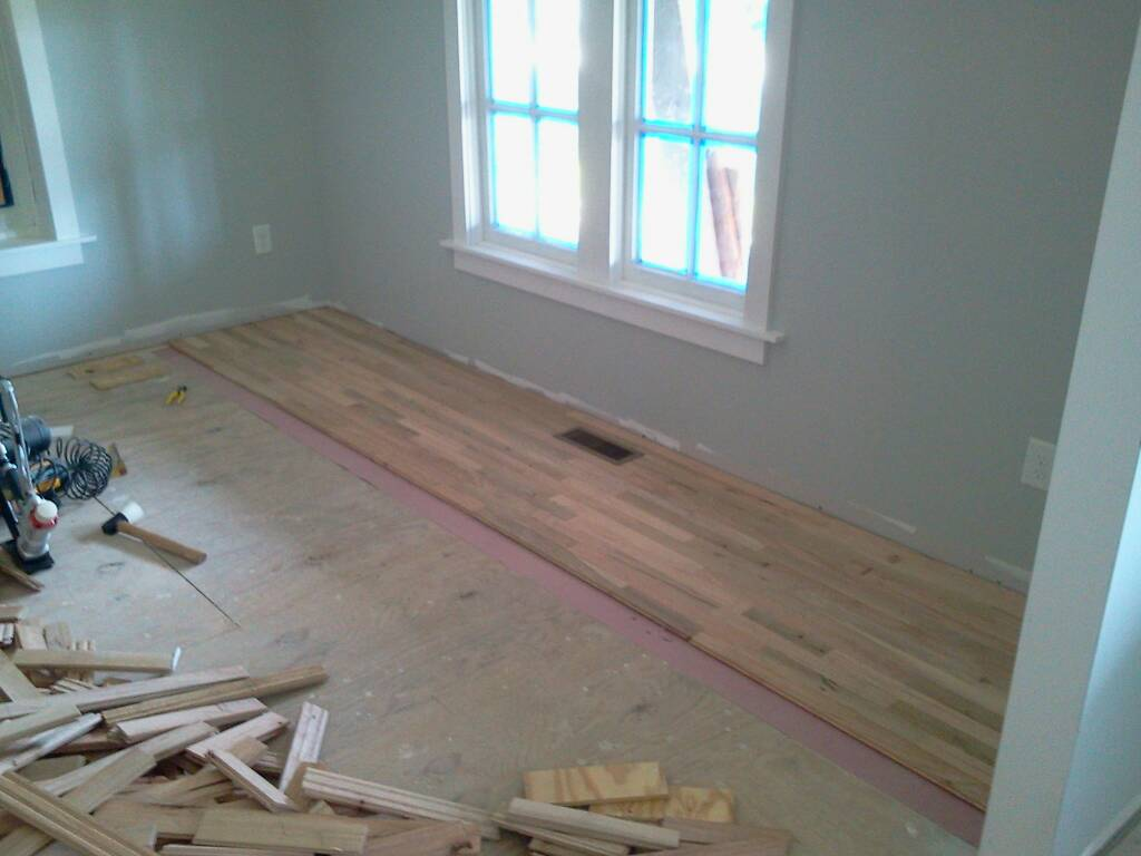 Elizabeth Burns Design | Installing Utility Grade Oak Hardwood Flooring, DIY