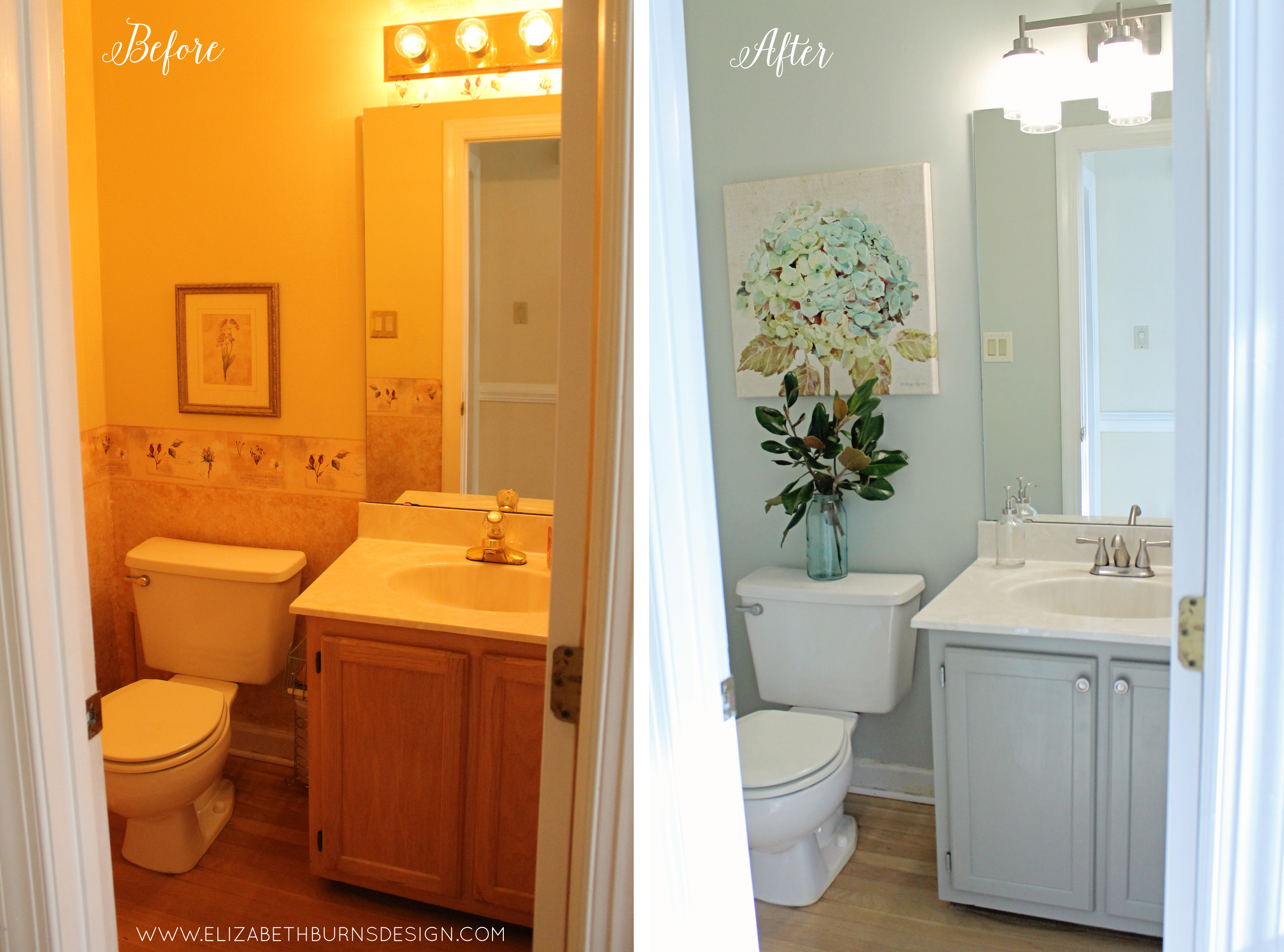 Elizabeth Burns Design | Raleigh NC Interior Designer - Budget Friendly Bathroom Makeover; Powder Room Renovation for $200