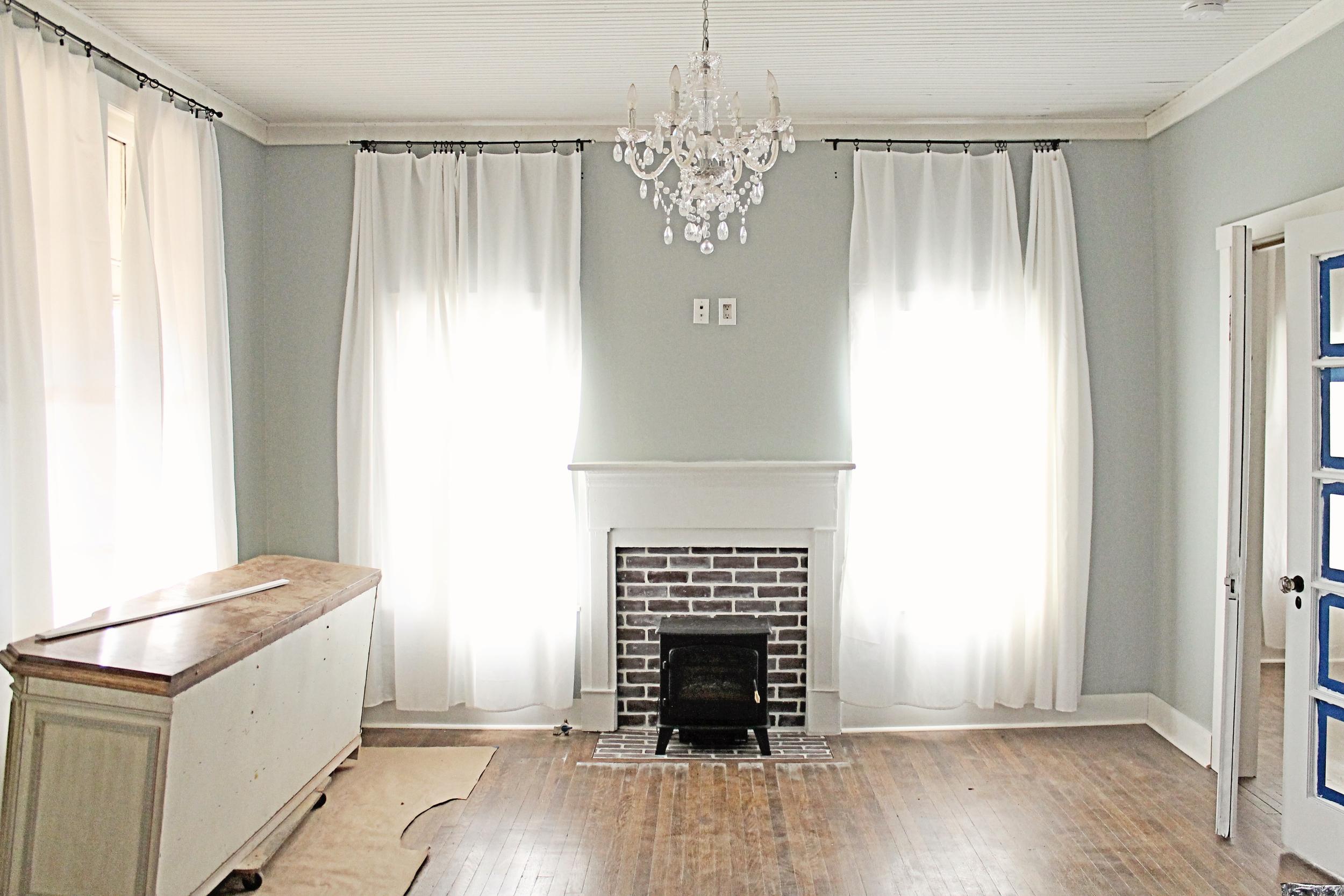 Elizabeth Burns Design | Faux Brick Fireplace