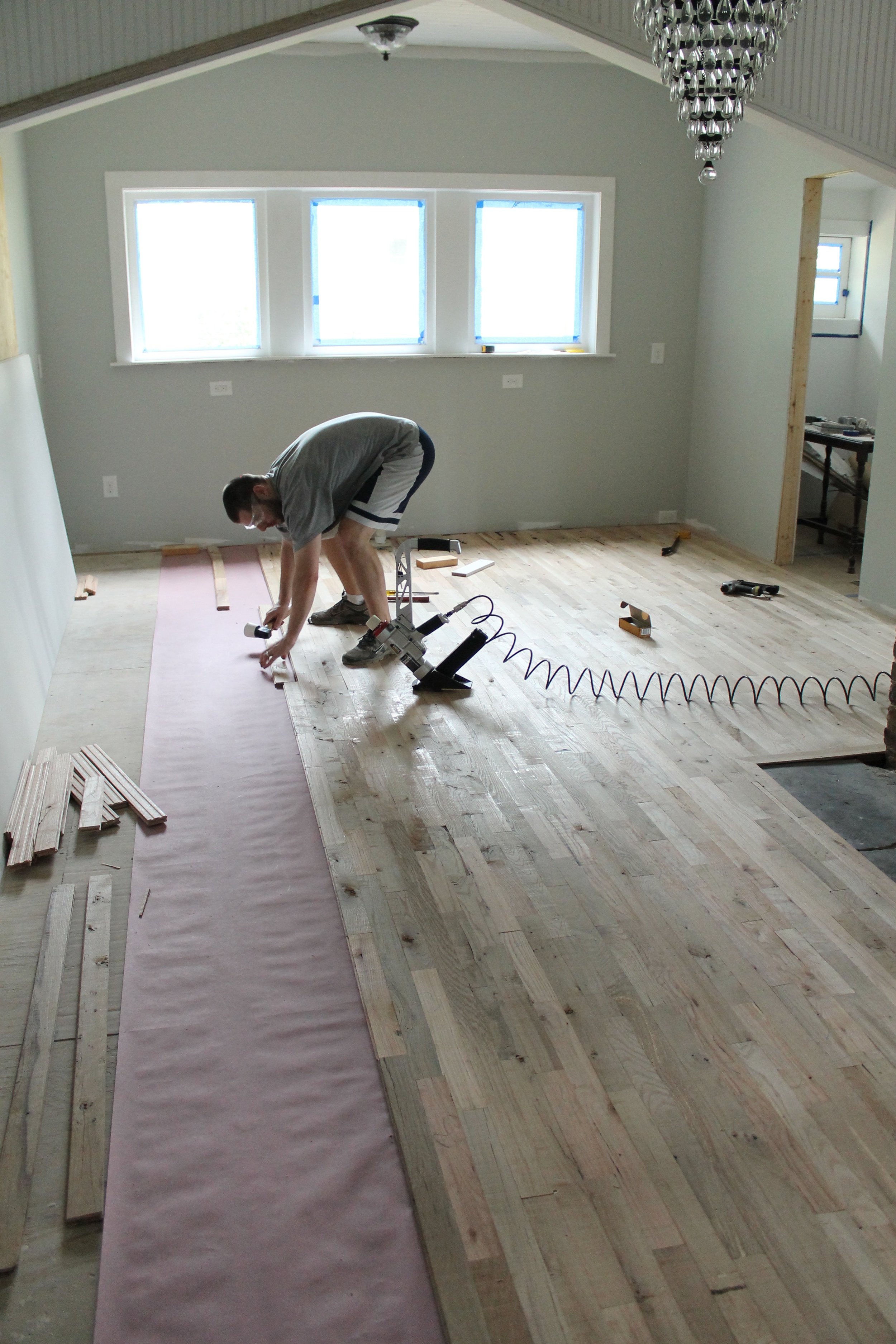 Racking hardwood flooring