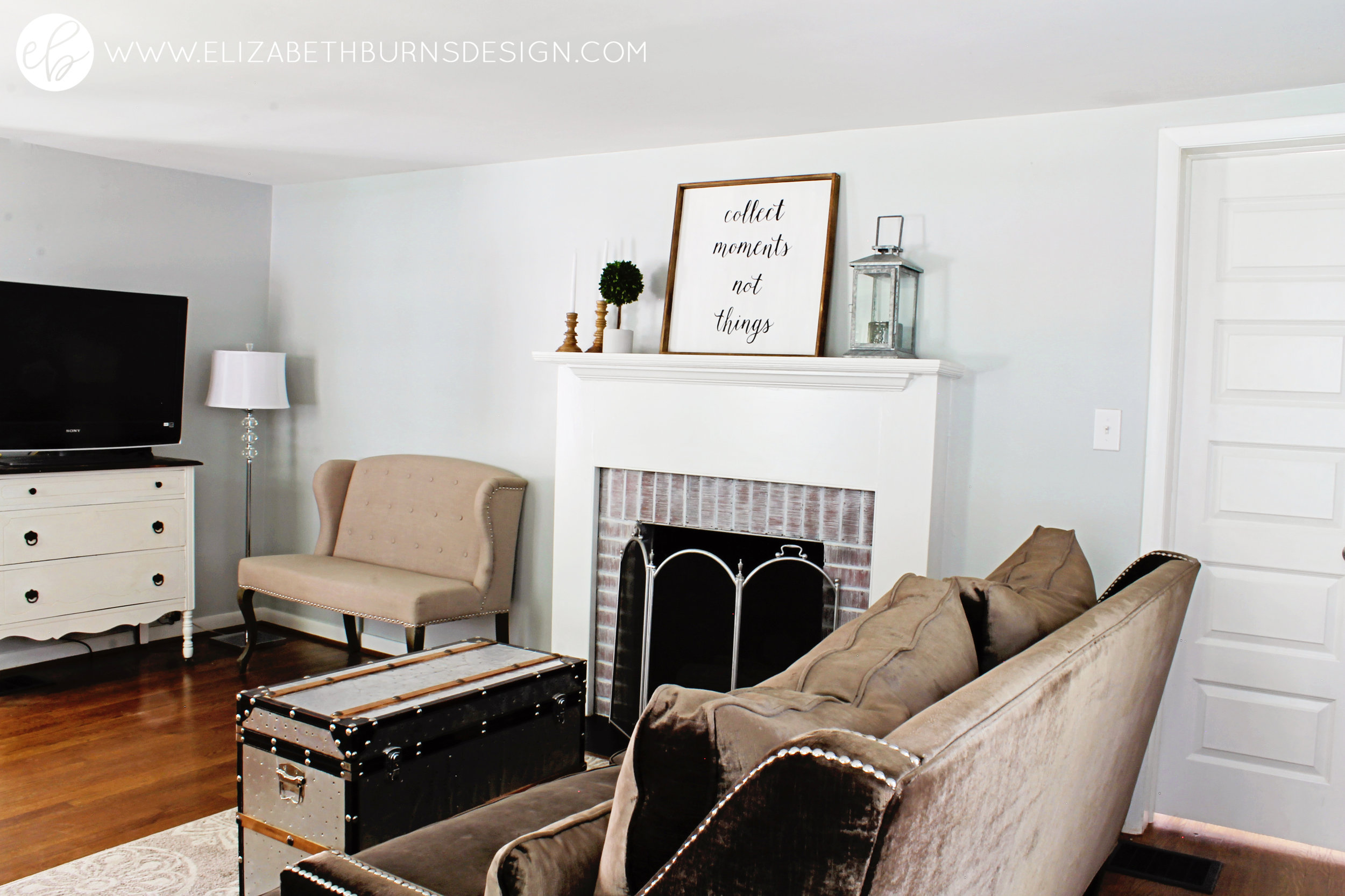 Elizabeth Burns Design | SW Silver Strand Sherwin Williams, Raleigh Interior Design, Small House Decorating, Staging, DIY, Design on a Budget, Tiny House, Fixer Upper Style, Farmhouse Look