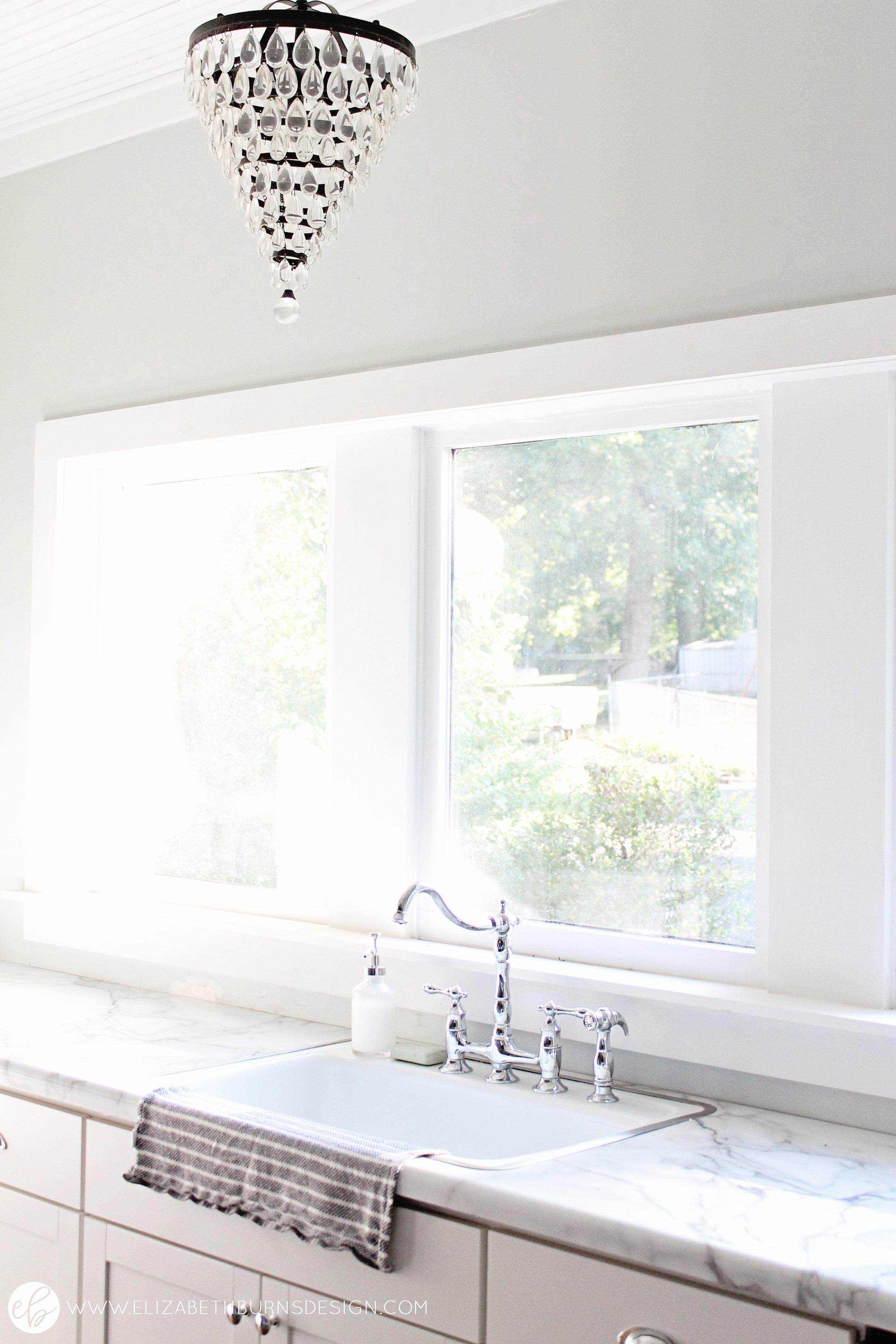 Elizabeth Burns Design   Free Kitchen Sink, Inexpensive Kitchen Renovation, Budget Kitchen Design, Farmhouse Style, Fixer Upper, Sherwin Williams Silver Strand