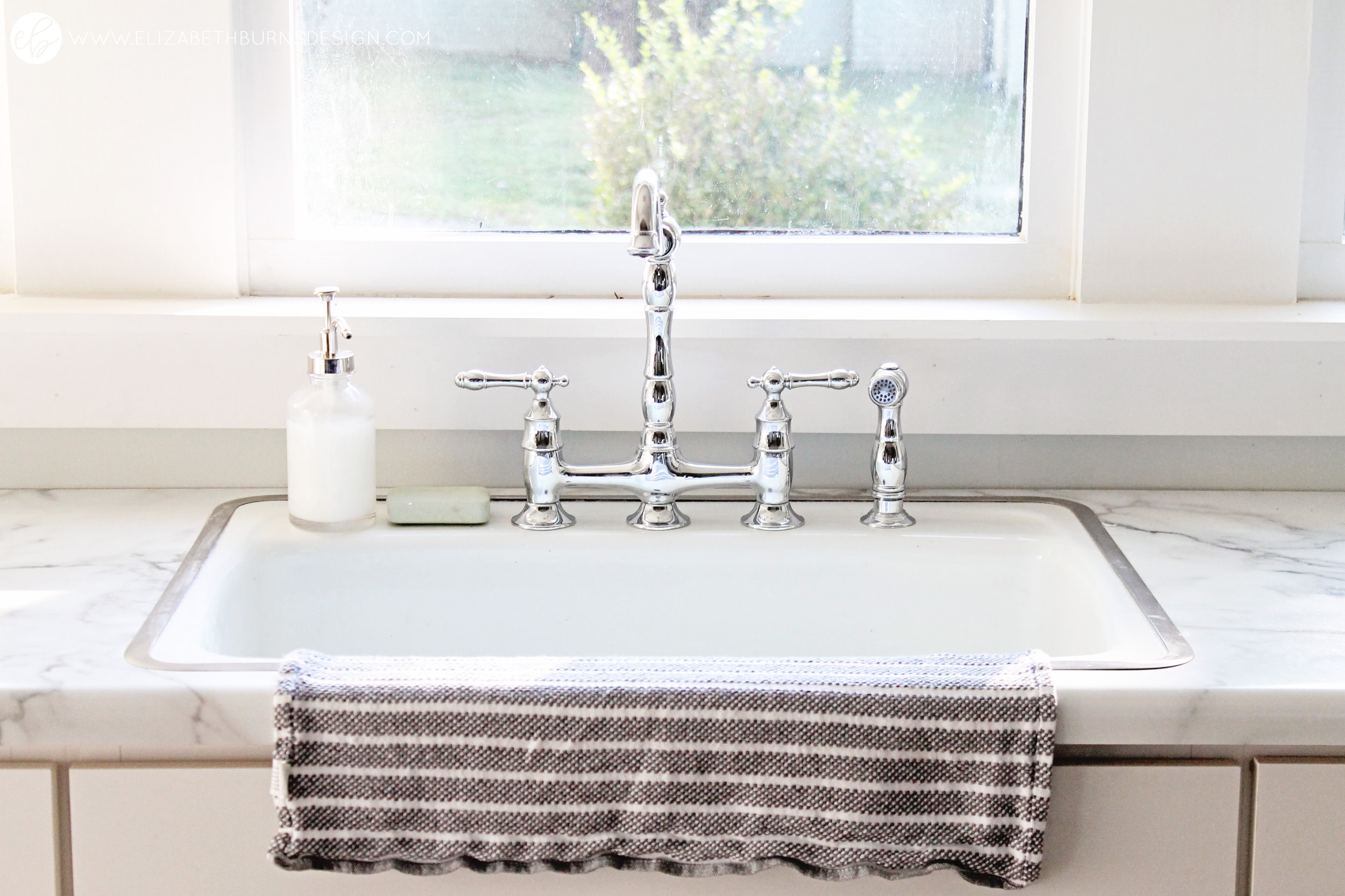 Elizabeth Burns Design   Free Kitchen Sink, Inexpensive Kitchen Renovation, Budget Kitchen Design, Farmhouse Style, Fixer Upper, Sherwin Williams Silver Strand, Chrome Faucet