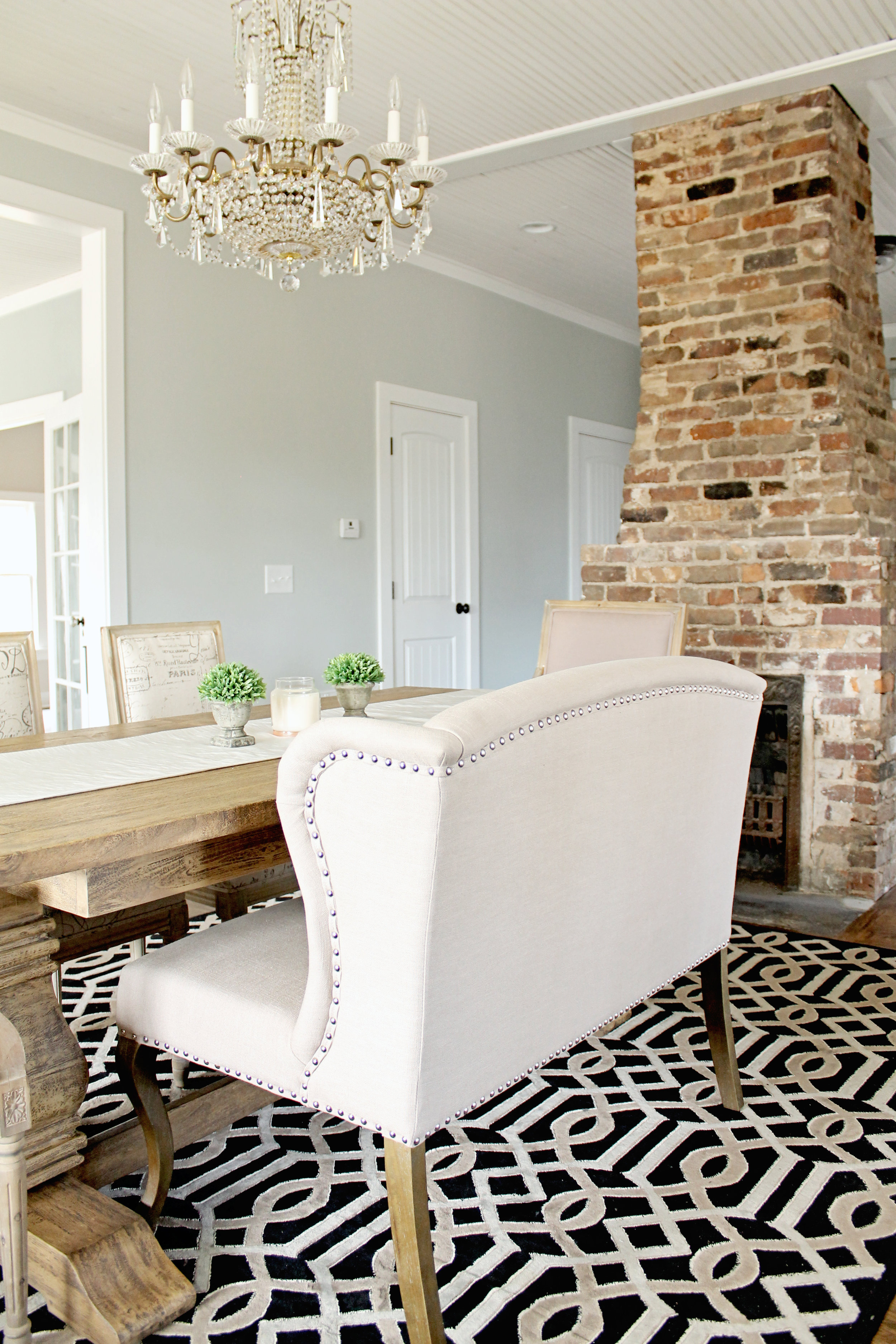 Elizabeth Burns Design | Family Farmhouse Renovation Before & Afters - fixer upper, Sherwin Williams Silver Strand, dining room inspiration, farm table